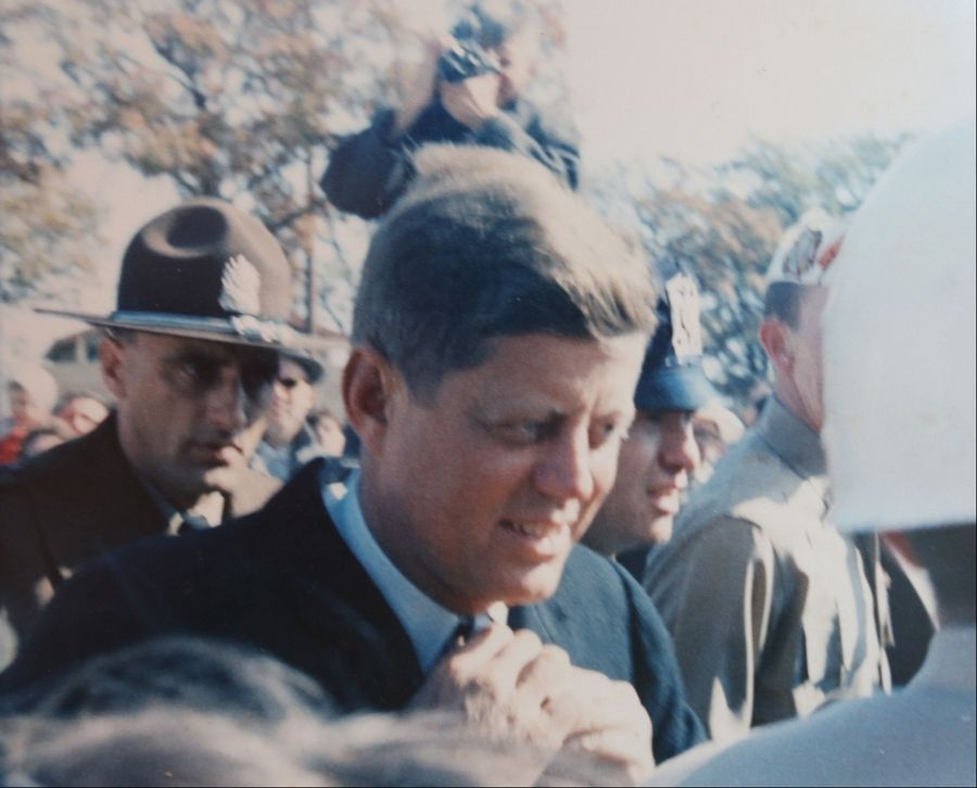 Sen. John F. Kennedy works the crowd during his Oct. 25, 1960, campaign stop in the Fox Valley.