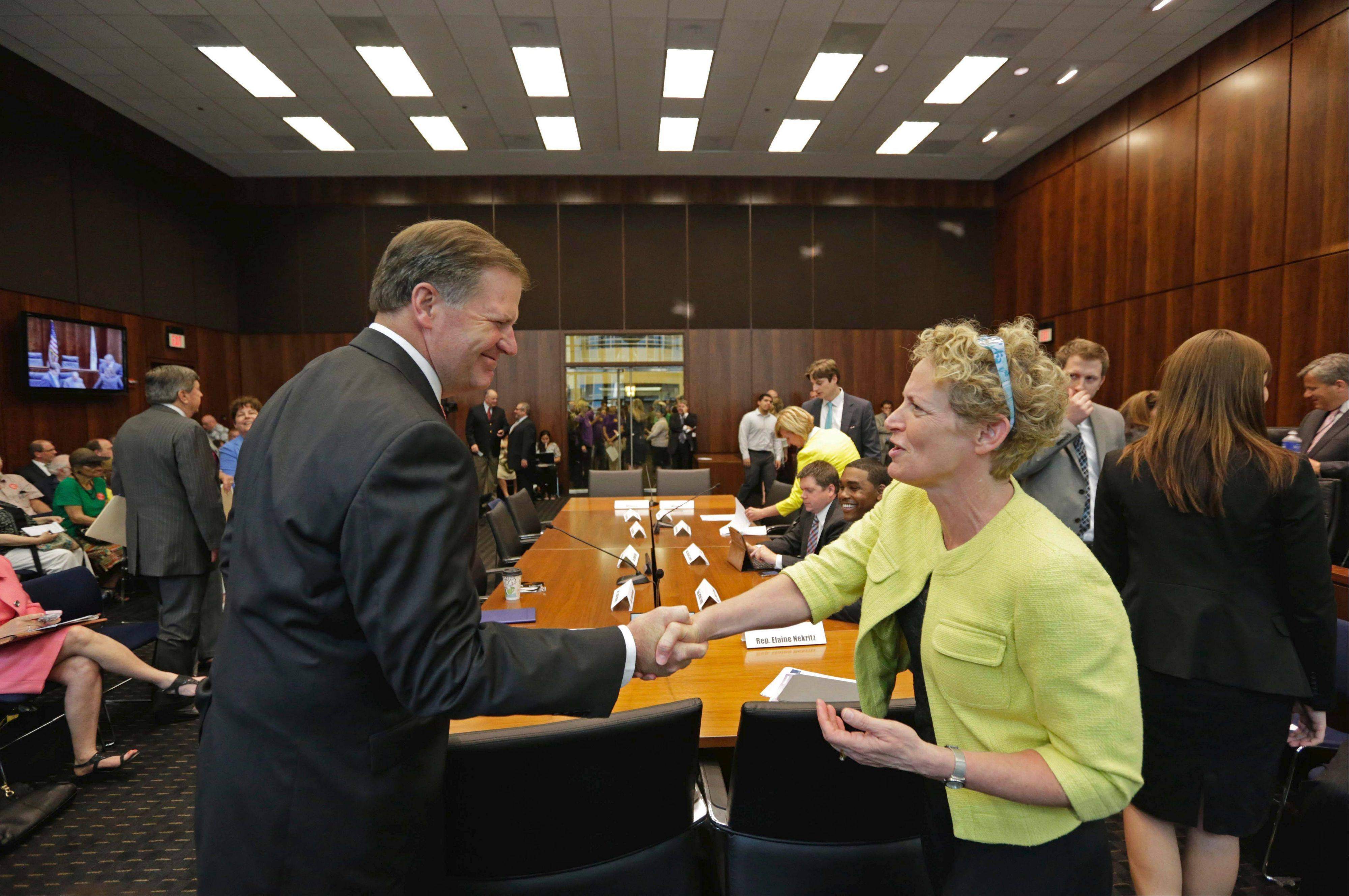 State Sen. Bill Brady and state Rep. Elaine Nekritz shake hands before members of a bipartisan pension reform committee hold a public hearing in June in Chicago. A vote on a proposal to solve the state's $100 billion pension crisis during the legislature's veto session is becoming increasingly unlikely.