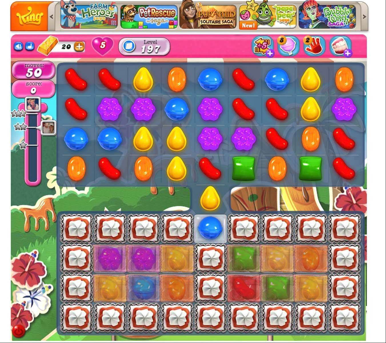 Candy Crush Saga has 500 levels. This is what Level 197 looks like.