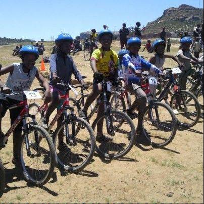 Riders line up for a cycling competition in Lesotho.