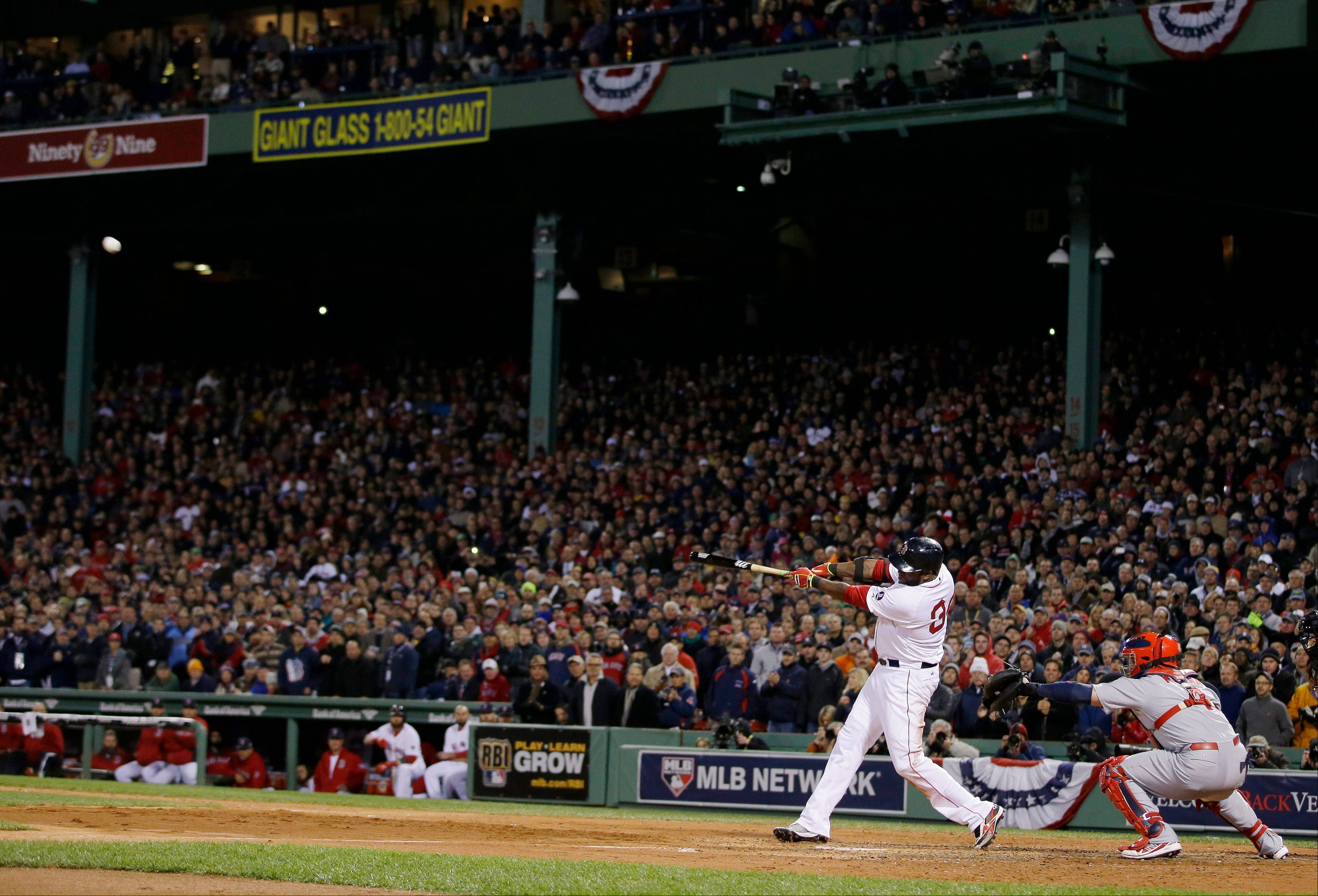 Boston's David Ortiz launches a two-run home run during the sixth inning of Game 2.