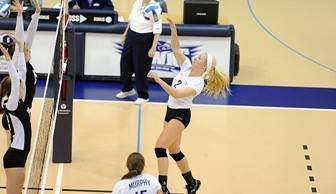 Outside hitter Rebekah Hischke had a team-high nine kills and added 10 digs in the win.