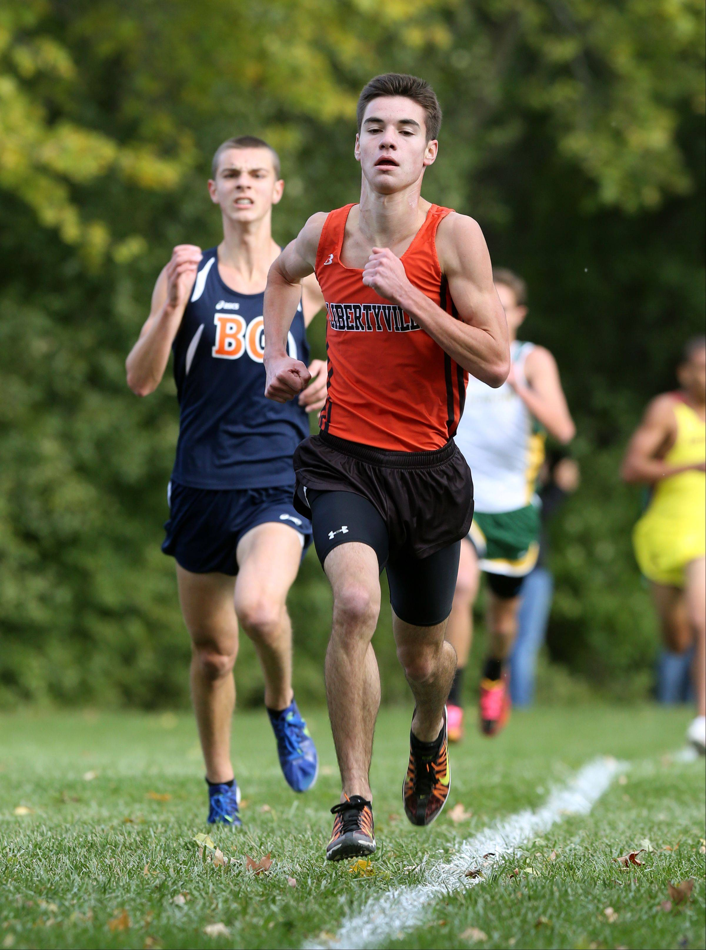 Libertyville�s Pat Humen finishes the Class 3A Libertyville cross country regional at Adler Park.