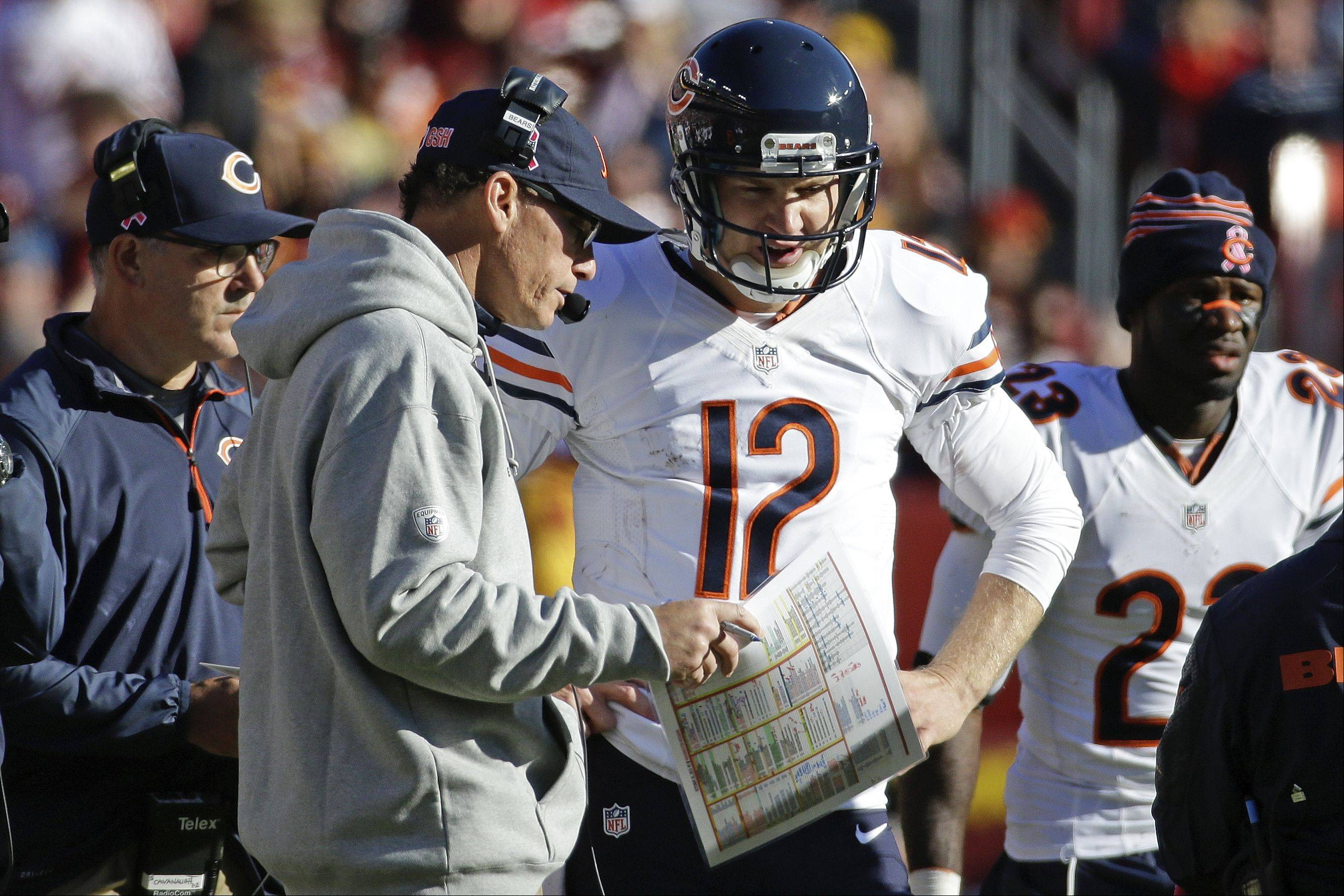 Bears quarterback Josh McCown talks with head coach Marc Trestman during the second half of last Sunday's loss at Washington.