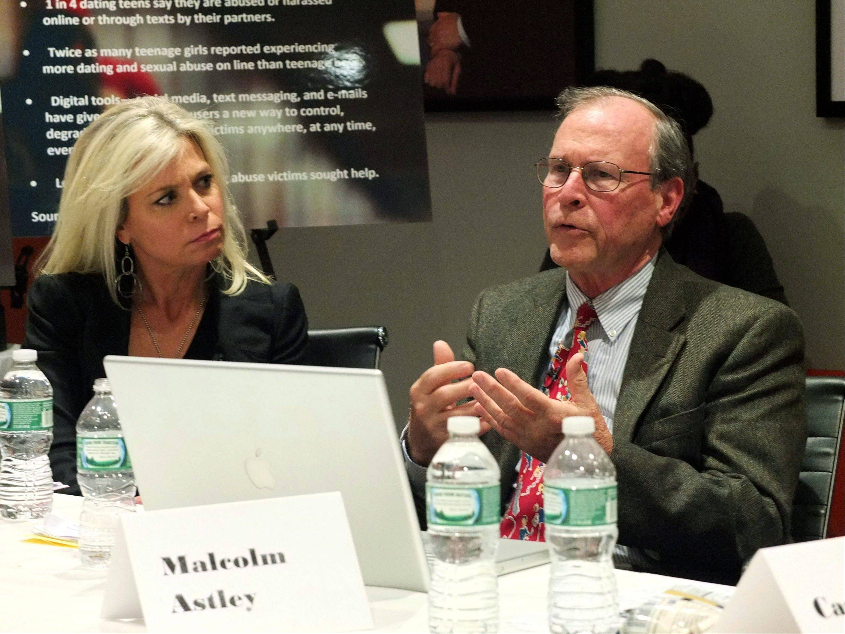 """48 Hours"" correspondent Tracy Smith, left, and Malcolm Astley speak during a panel discussion on the upcoming broadcast of the episode ""Loved to Death."""