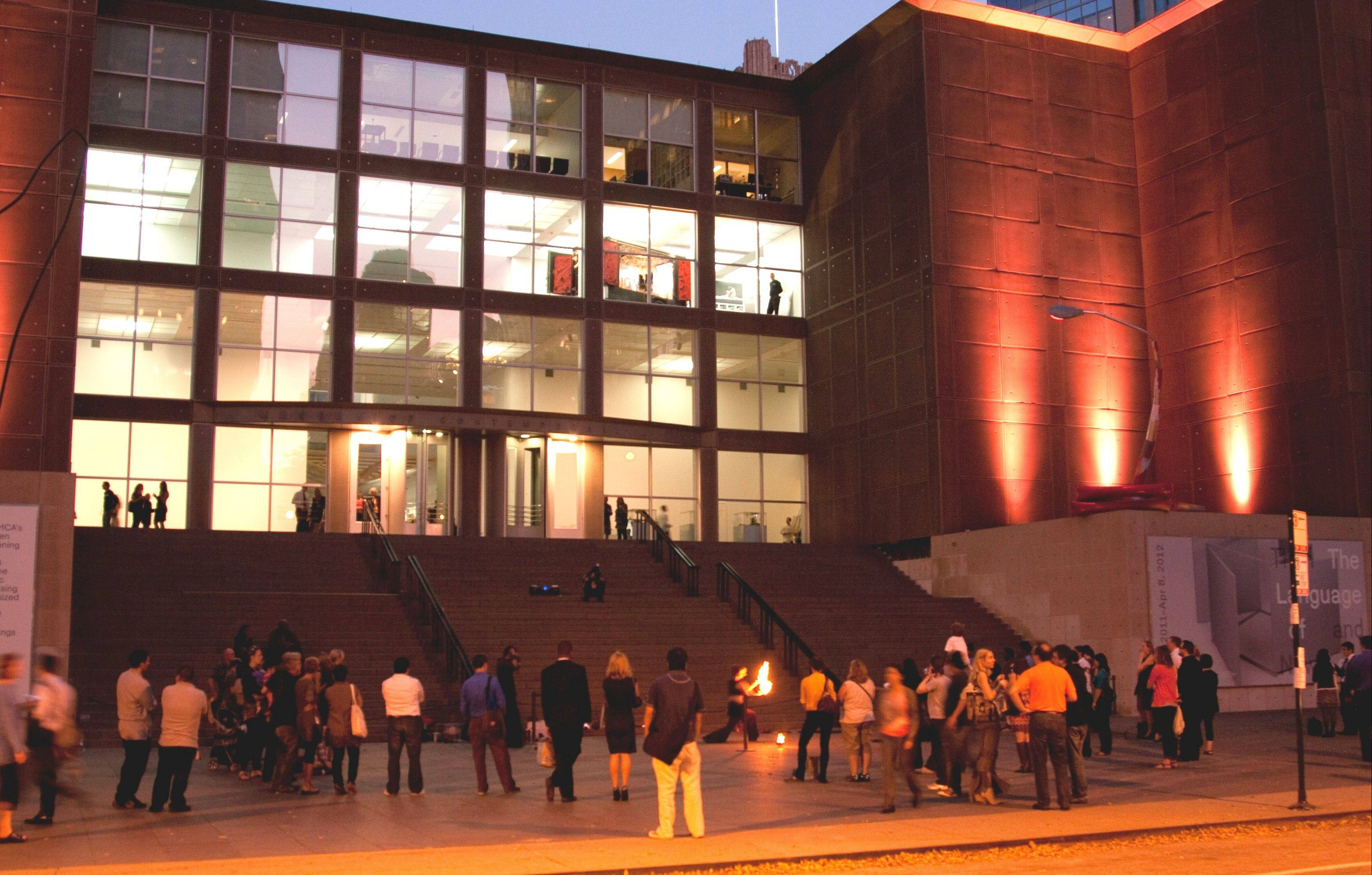 Exhibits and free entertainment are offered at First Fridays at the Museum of Contemporary Art in Chicago.