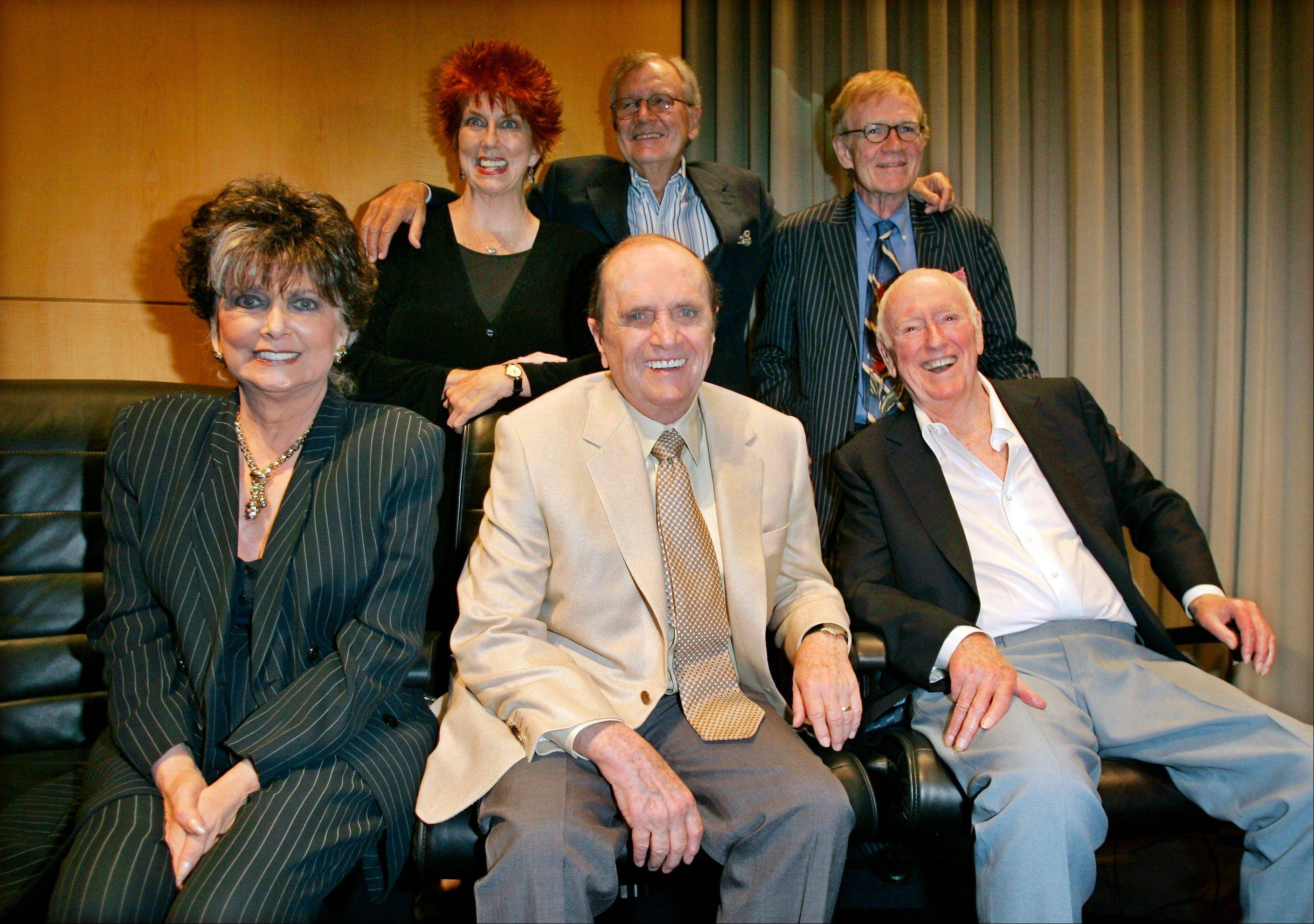 "Associated Press/2007 Bob Newhart, center, sits with other members of the cast and crew of the ""The Bob Newhart Show,"" from top left, Marcia Wallace, Bill Daily, Jack Riley, and, from bottom lelt, Suzanne Pleshette and Dick Martin during TV Land's 35th anniversary tribute to the program in Beverly Hills, Calif. Wallace, who played a receptionist on the show, and the voice of Edna Krabappel on ""The Simpsons,"" died Saturday."