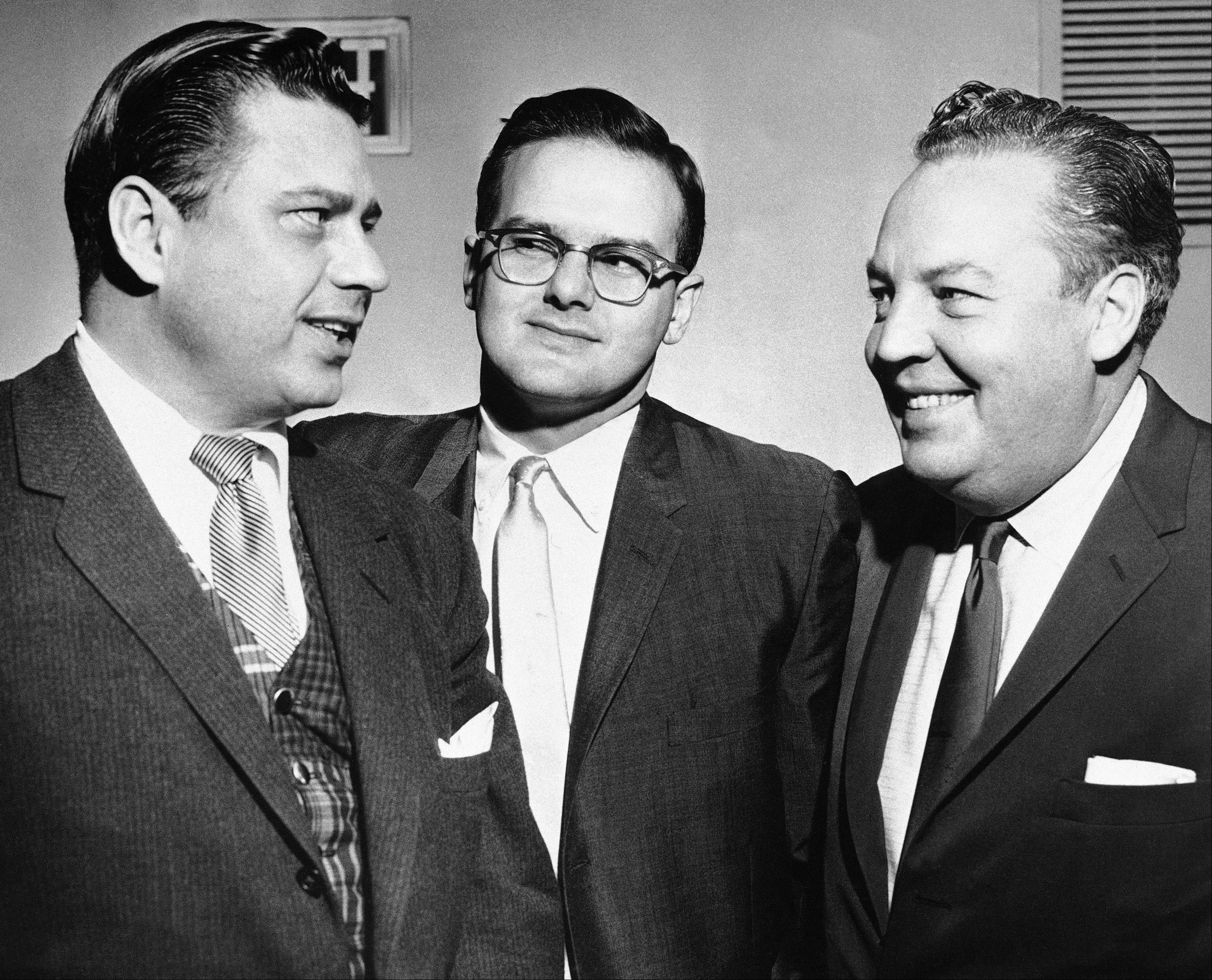 "American Football League president Lamar Hunt, center, is flanked by K.S. "" Bud"" Adams Jr., left, owner of the Houston AFL team, and Harry Wismer, owner of the New York AFL team, in Dallas. Adams Jr. has died in his Houston home. He was 90."