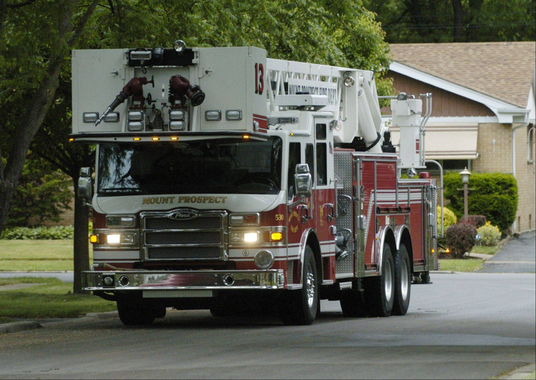 Mount Prospect's ladder truck, Tower 13: Trustees said is the department's policy of running the tower ladder on every call so as not to have to go back to the station to get it is concerning.