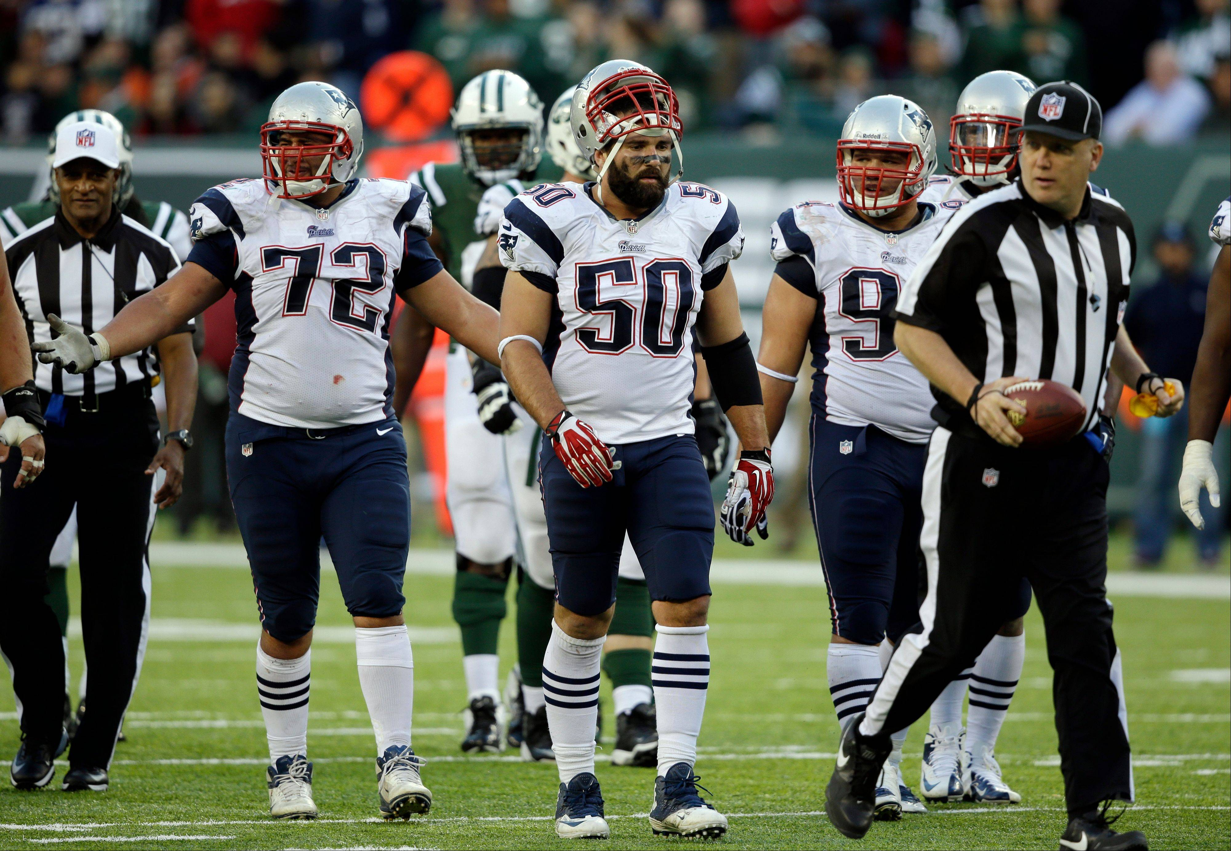 New England Patriots defensive end Rob Ninkovich (50) has 35 tackles and 1 sack this season.