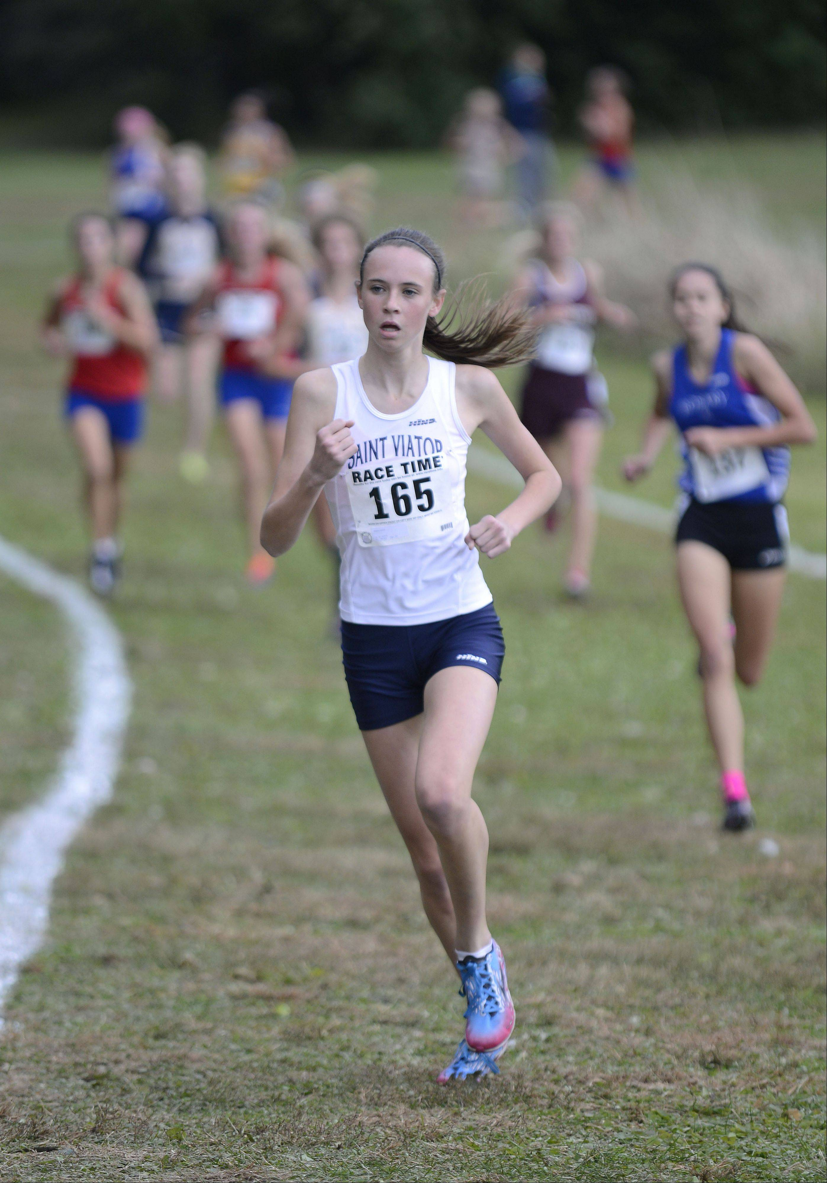 St. Viator's Meghan Carroll took eighth place in the Class 2A cross country regional on Saturday, October 26.