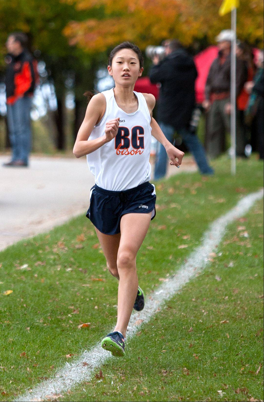 Buffalo Grove's Kaitlyn Ko hangs on to an early lead to win the girls Class 3A Libertyville cross country regional at Adler Park.