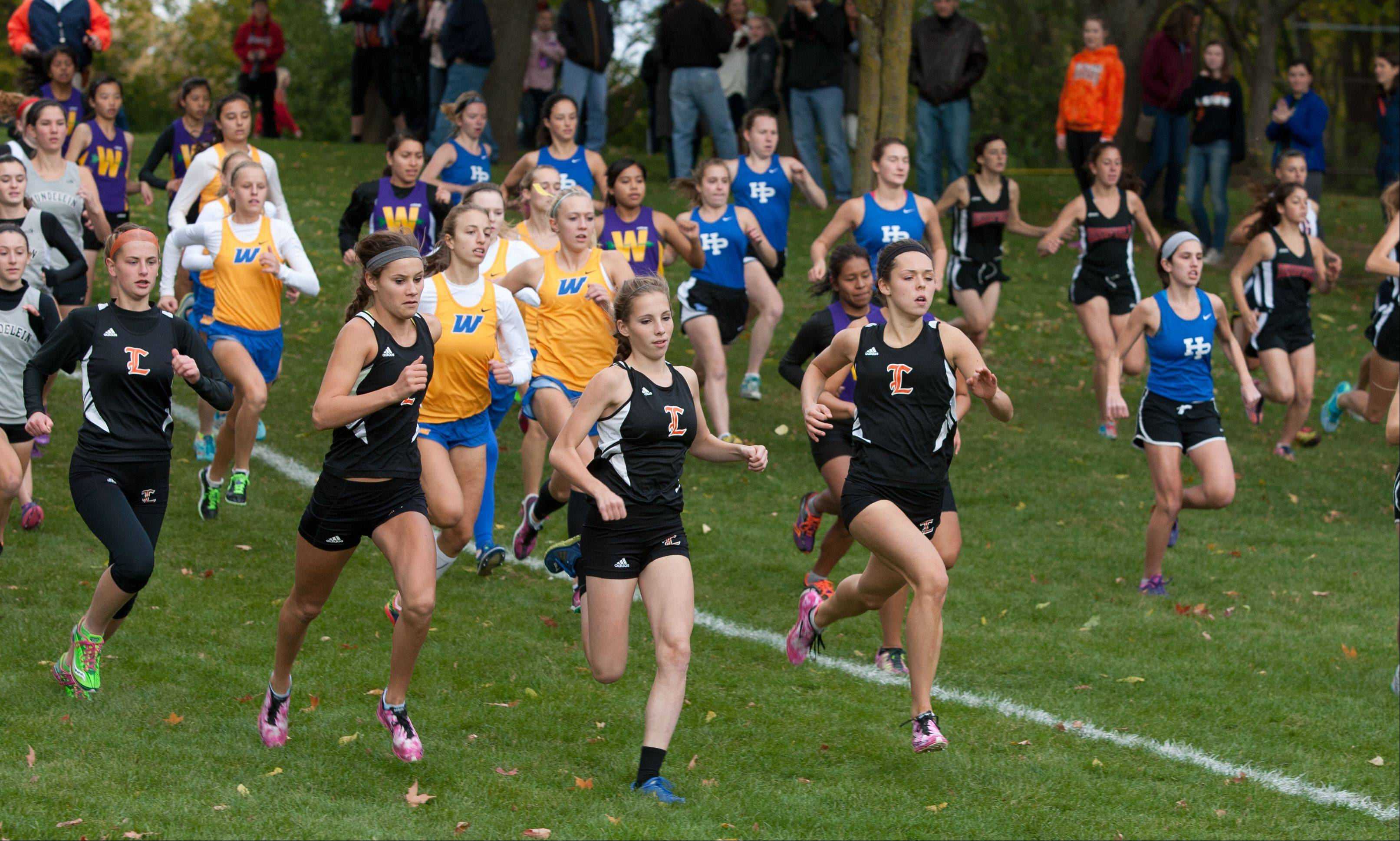 The Class 3A Libertyville girls cross country regional begins at Adler Park.