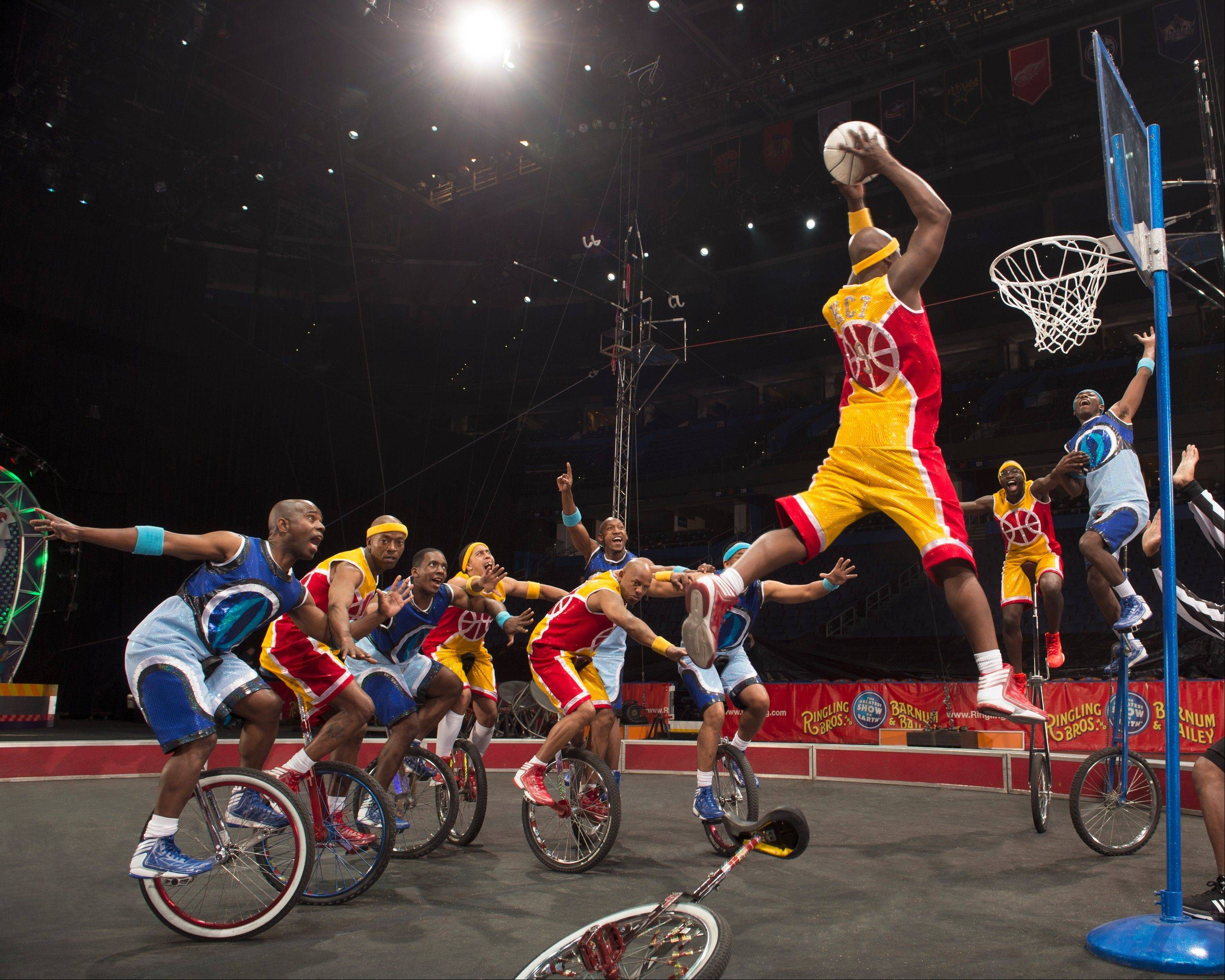 "The King Charles Troupe featuring unicycling basketball players returns to perform with the Ringling Bros. and Barnum & Bailey Circus in the show ""Built to Amaze!"""
