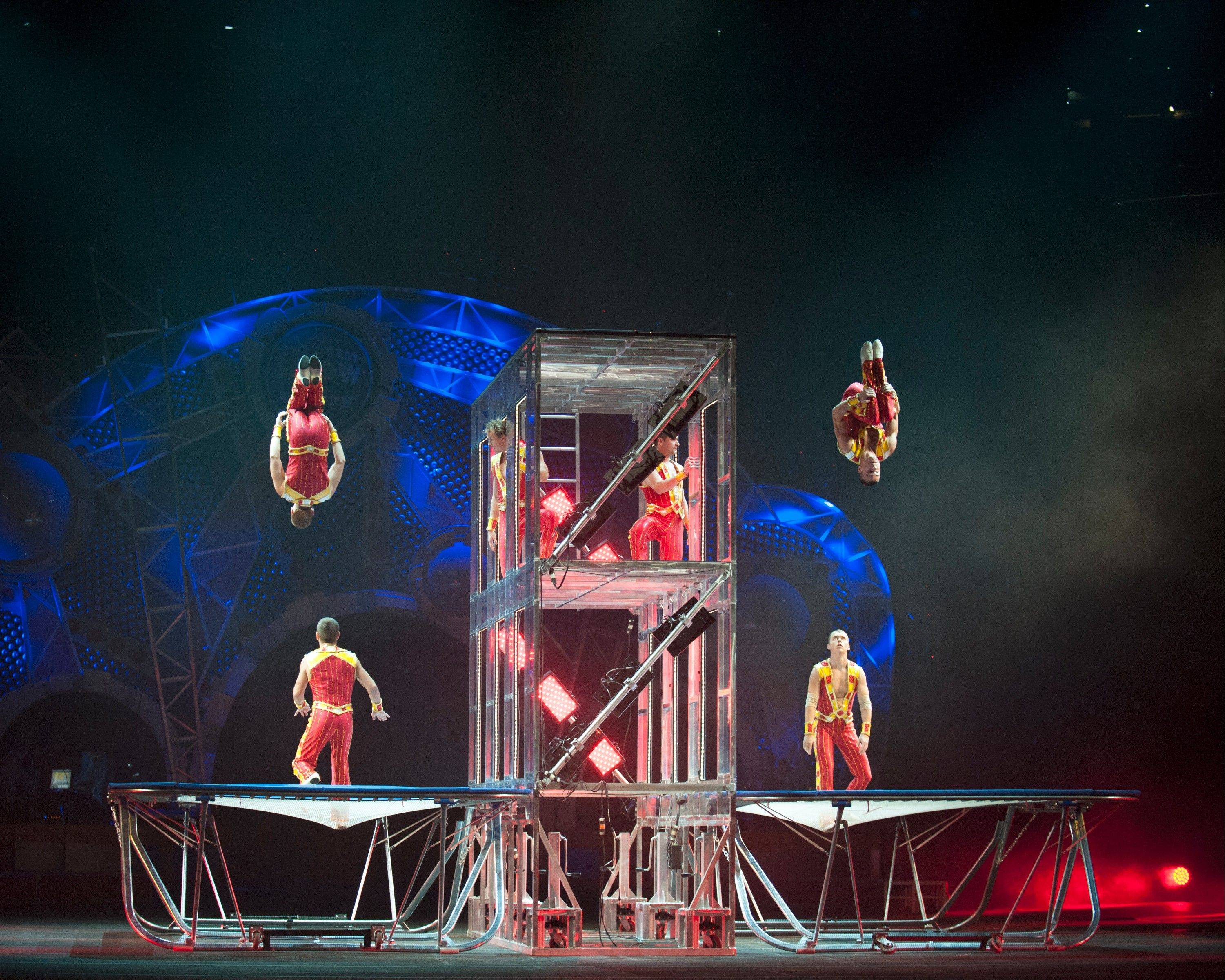 "The Tower Tumblers from Ukraine perform in the Ringling Bros. and Barnum & Bailey Circus show ""Built to Amaze!"""