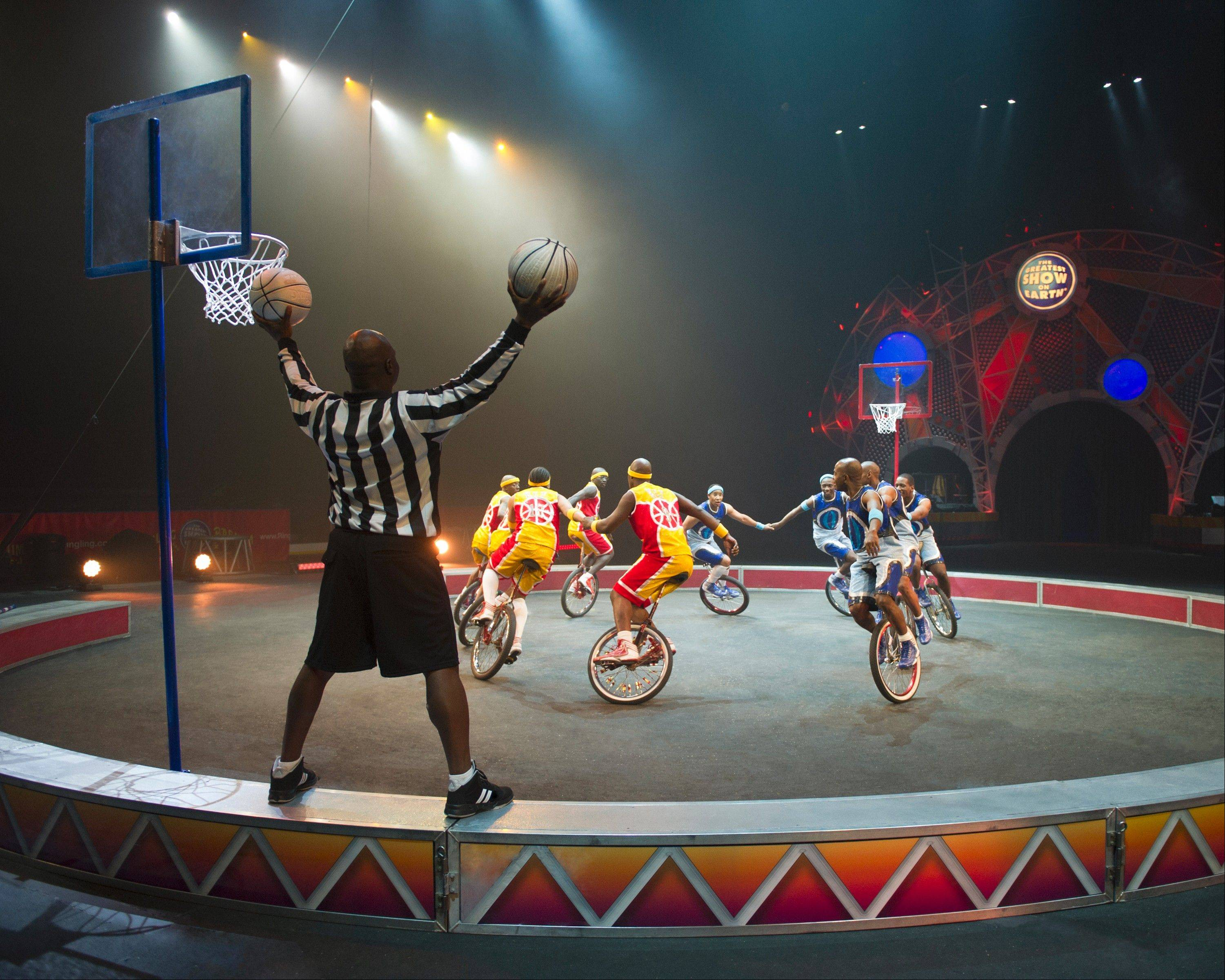 "The third generation of basketball playing unicyclists known as the King Charles Troupe appear in the Ringling Bros. and Barnum & Bailey Circus show ""Built to Amaze!"""