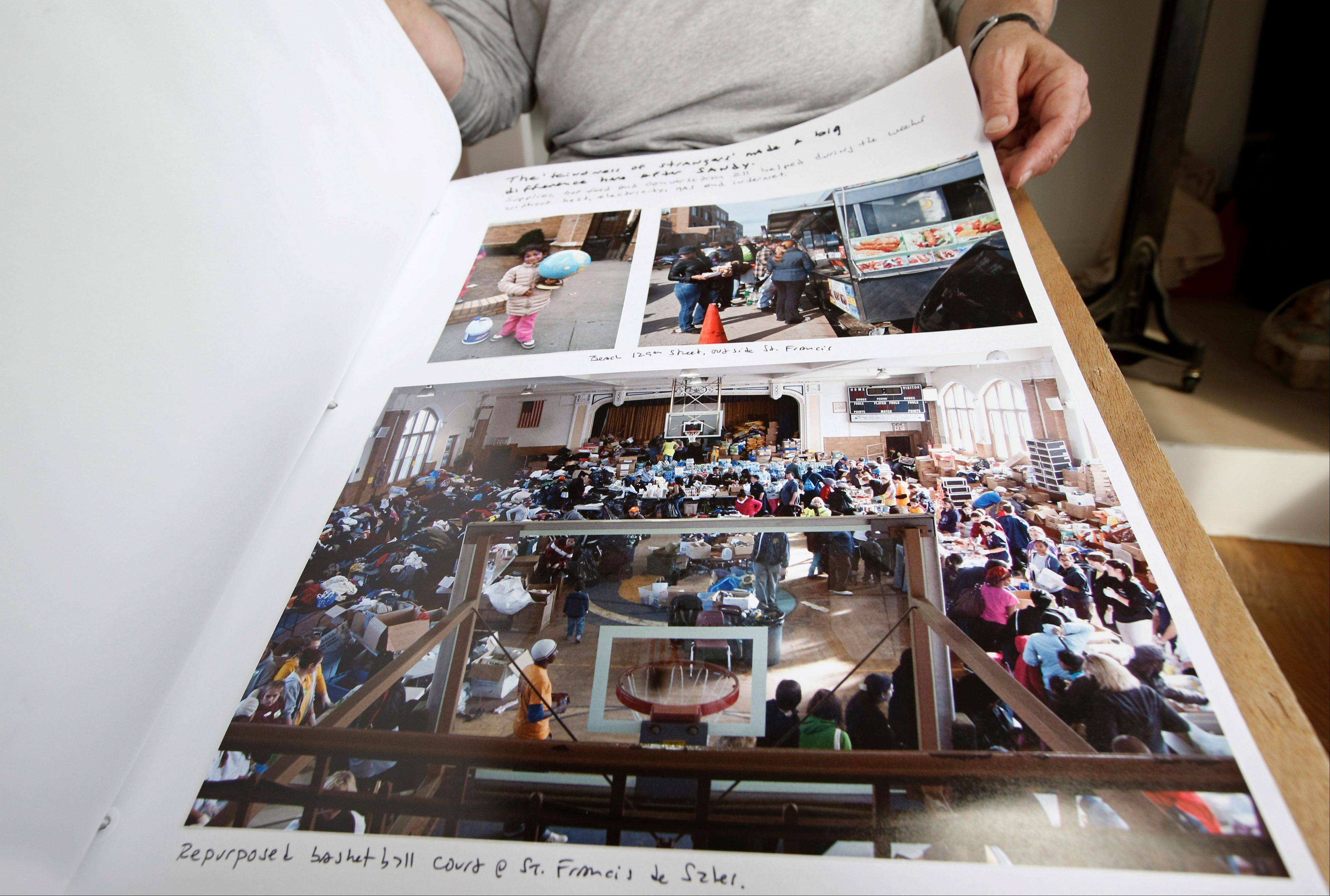 The lower photograph by Larry Racioppo was taken in the gymnasium at St. Francis de Sales Parish where residents could go to pick up food, clothing and supplies to replace items they lost in Superstorm Sandy.