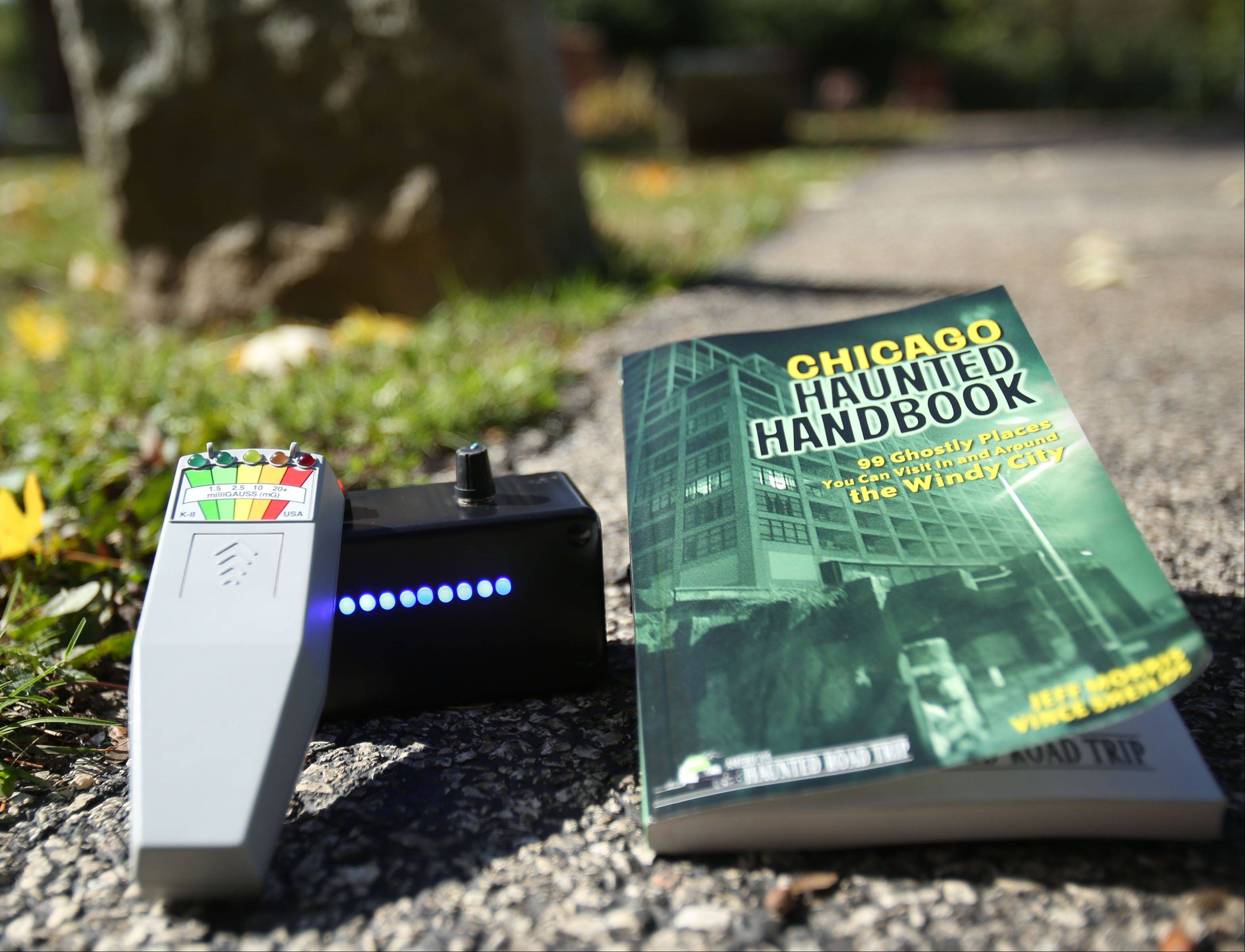 "A black geophone vibration sensor and electromagnetic frequency detector helped former Elgin and Huntley resident Vince Sheilds complete the investigations used to compile his ""Chicago Haunted Handbook,"" which lists ""99 ghostly places"" in the suburbs and city."