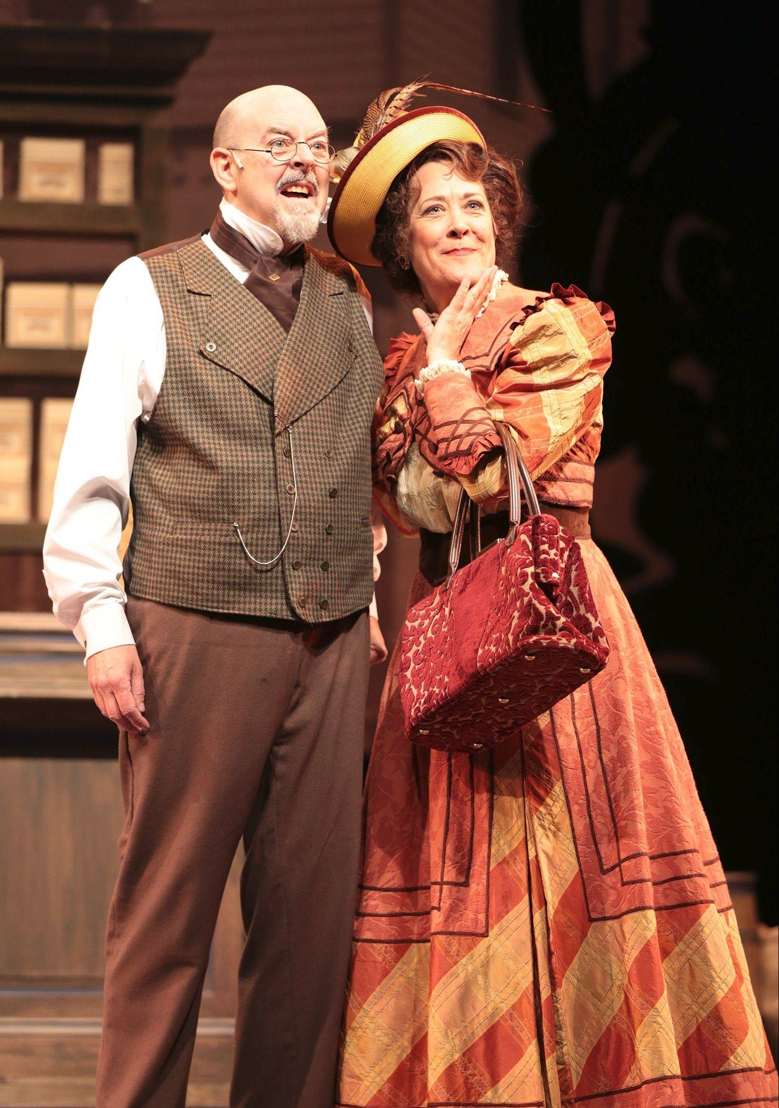 "Matchmaker Dolly Levi (Karen Ziemba) promises to find a wife for Yonkers half-millionaire Horace Vandergelder (David Lively) in director Rachel Rockwell's revival of ""Hello, Dolly!"" for Drury Lane Theatre."
