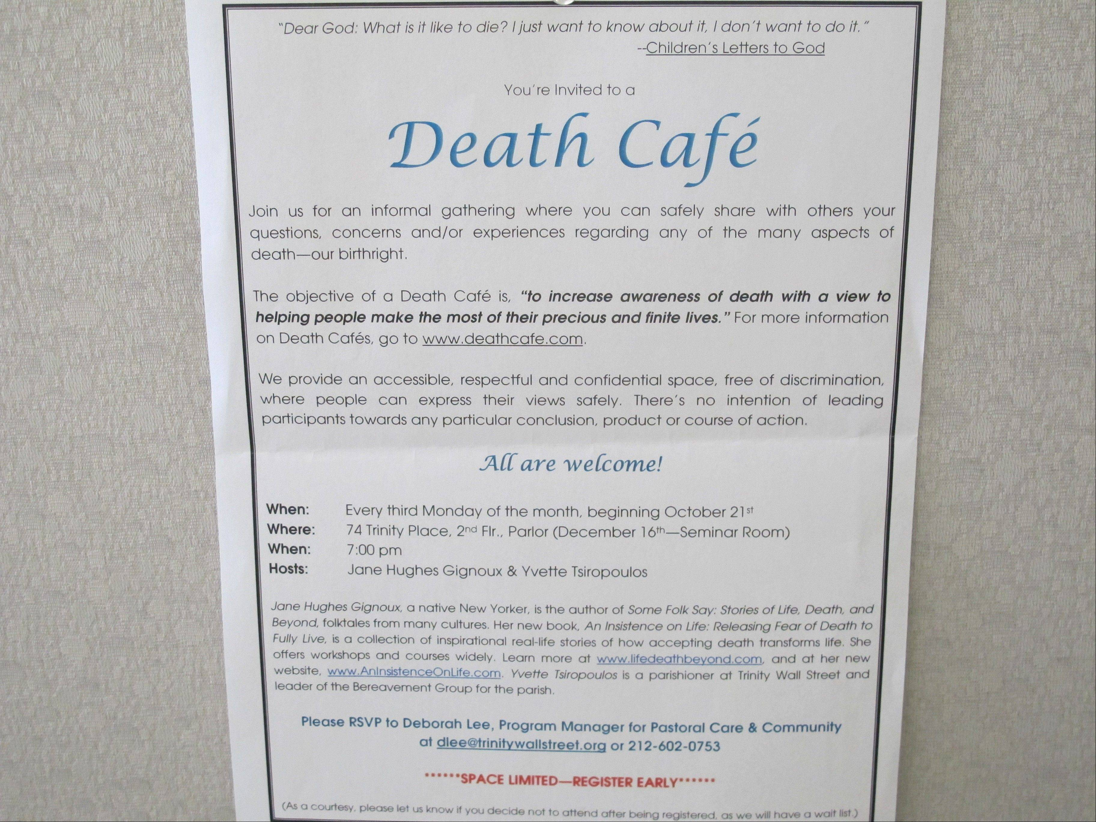 This photo shows an invitation to a Death Cafe discussion in New York City. Death Cafes, where people talk freely about death-related issues, are rapidly spreading through the U.S. and the world.