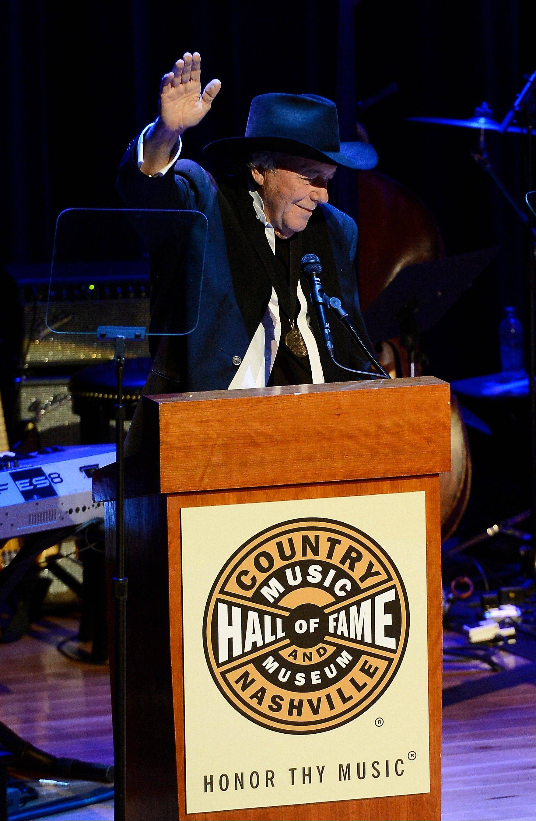 Country music star Bobby Bare thanks those gathered after he was presented with his County Music Hall of Fame medallion and plaque at the ceremony for the 2013 inductions into the Country Music Hall of Fame on Sunday in Nashville, Tenn.