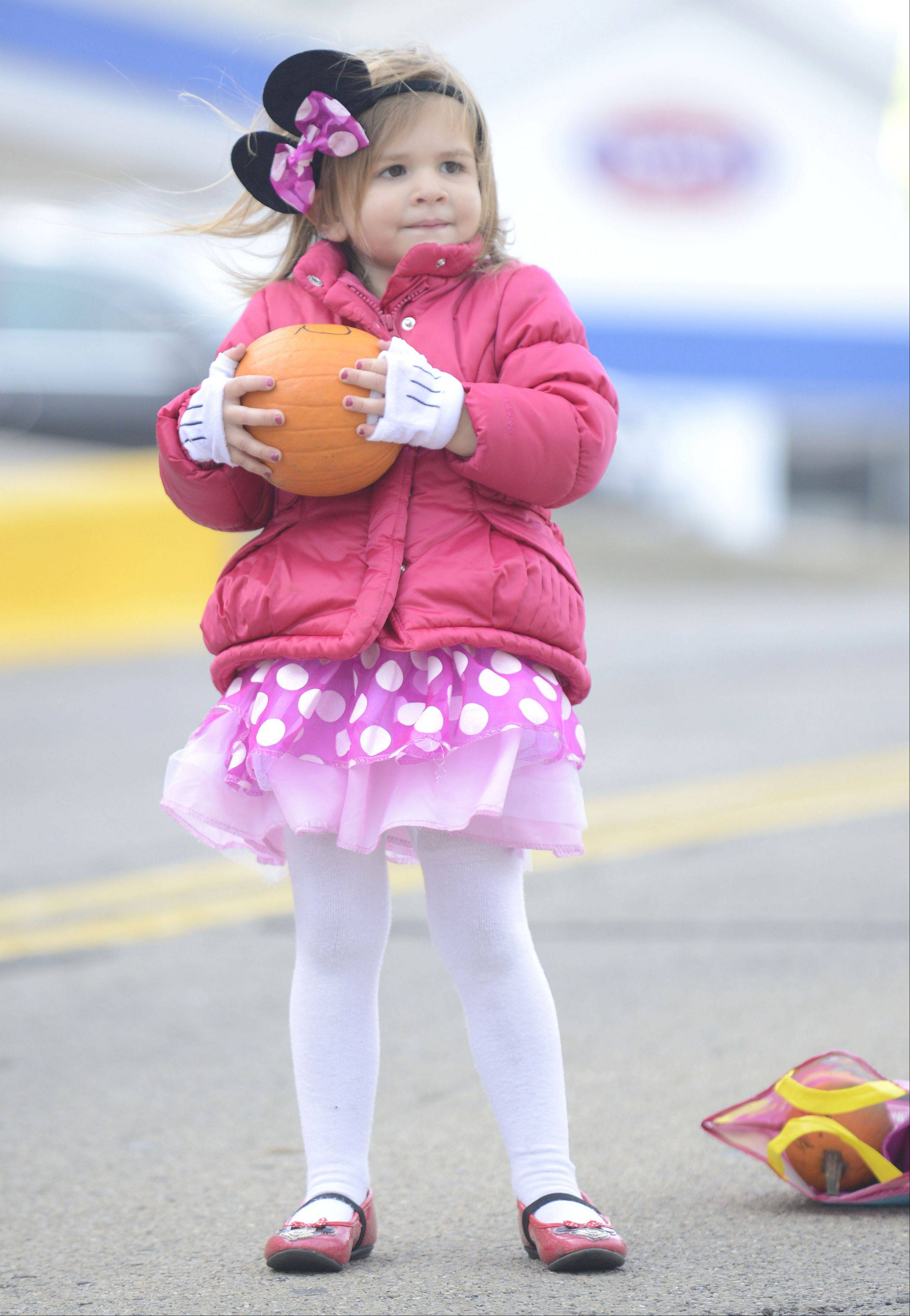 Sara Wolfe, 3, of Batavia, wore a Minnie Mouse costume to Batavia's BatFest, and is ready to roll her pumpkin down Houston Street in the Pumpkin Roll contest on Saturday. For $1 a roll, participants could see how far their pumpkin could roll down the hill without smashing. Pumpkins could be purchased from Boy Scout Troop 6 or participants could bring their own pumpkins. This is the first year Sara has been at the festival.