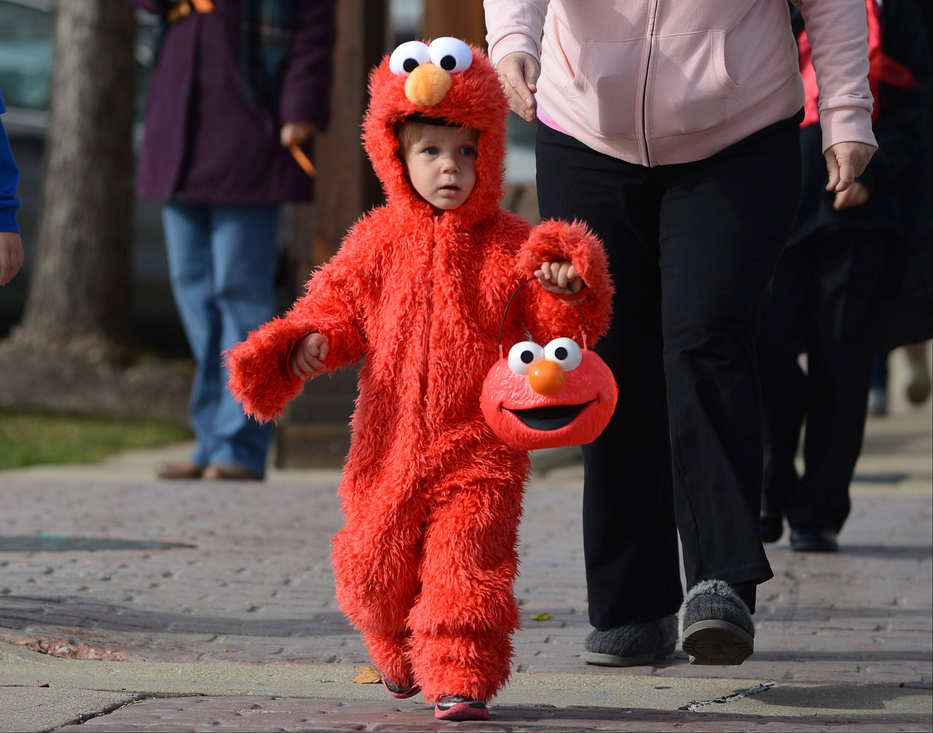 Two-year-old Justin Gruszczynksi, of Round Lake Beach, dressed as Elmo and collected some goodies during Grayslake's business Trick or Treat event in downtown on Saturday.