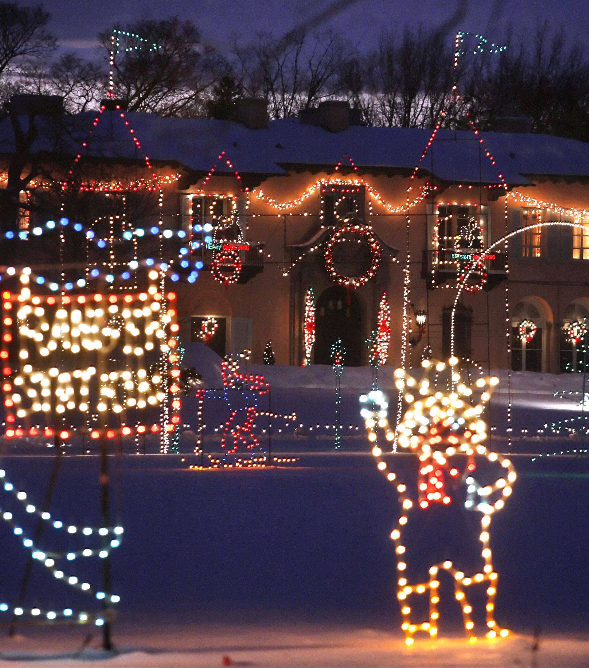 Lights twinkle at the Cuneo Mansion and Gardens in Vernon Hills for the annual Winter Wonderland holiday light show in Vernon Hills. This could be the last year for the annual show.