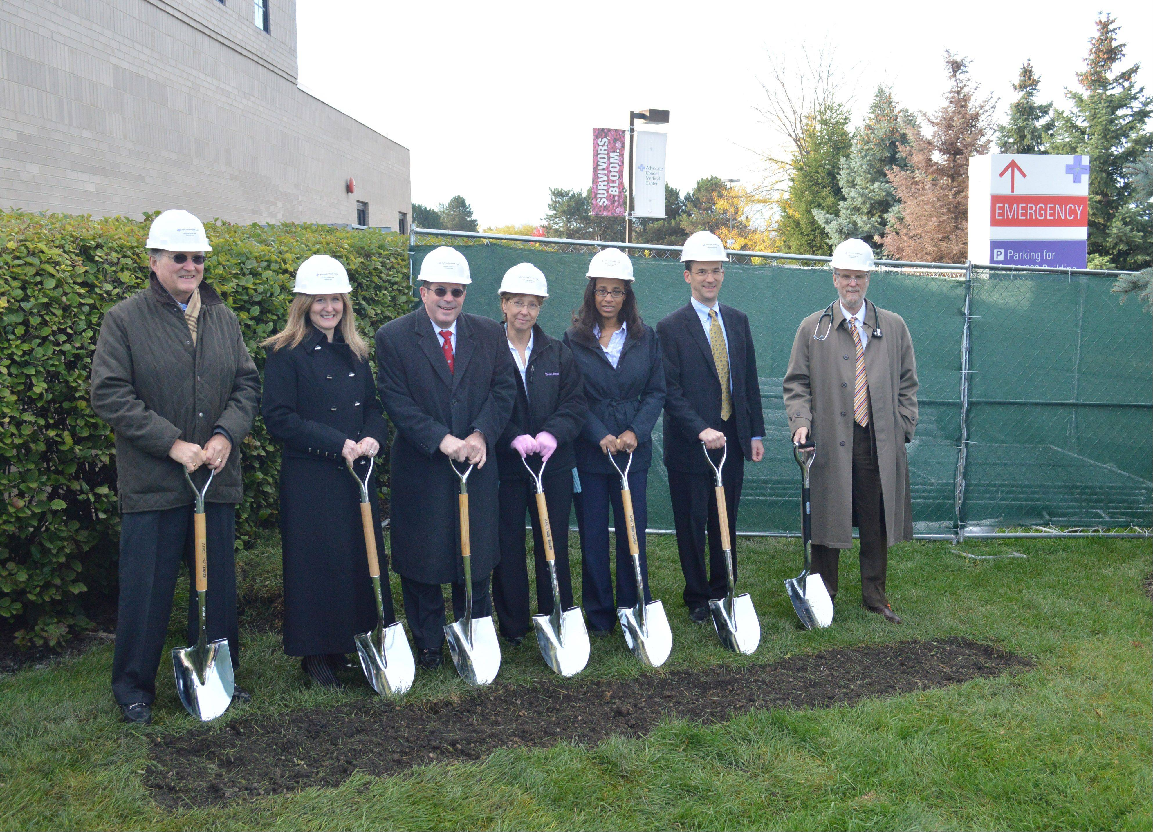 At the groundbreaking ceremony are, from left, Condell Governing Council Vice Chair David Johnson; President Advocate Condell Medical Center President Dominica Tallarico; Libertyville Mayor Terry Weppler; Condell Oncology Services Manager Wendy Tumminello; radiation oncologists Dr. Joy Coleman and Dr. James Ruffer; and Medical Director of Oncology Dr. Michael Cochran.