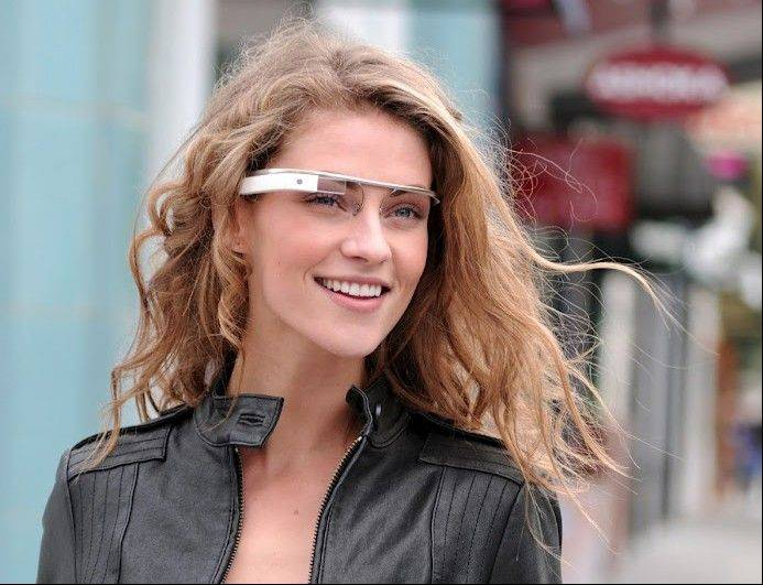 "The Google[x] group's ""Project Glass"", an early prototype of Google's futuristic Internet-connected glasses."
