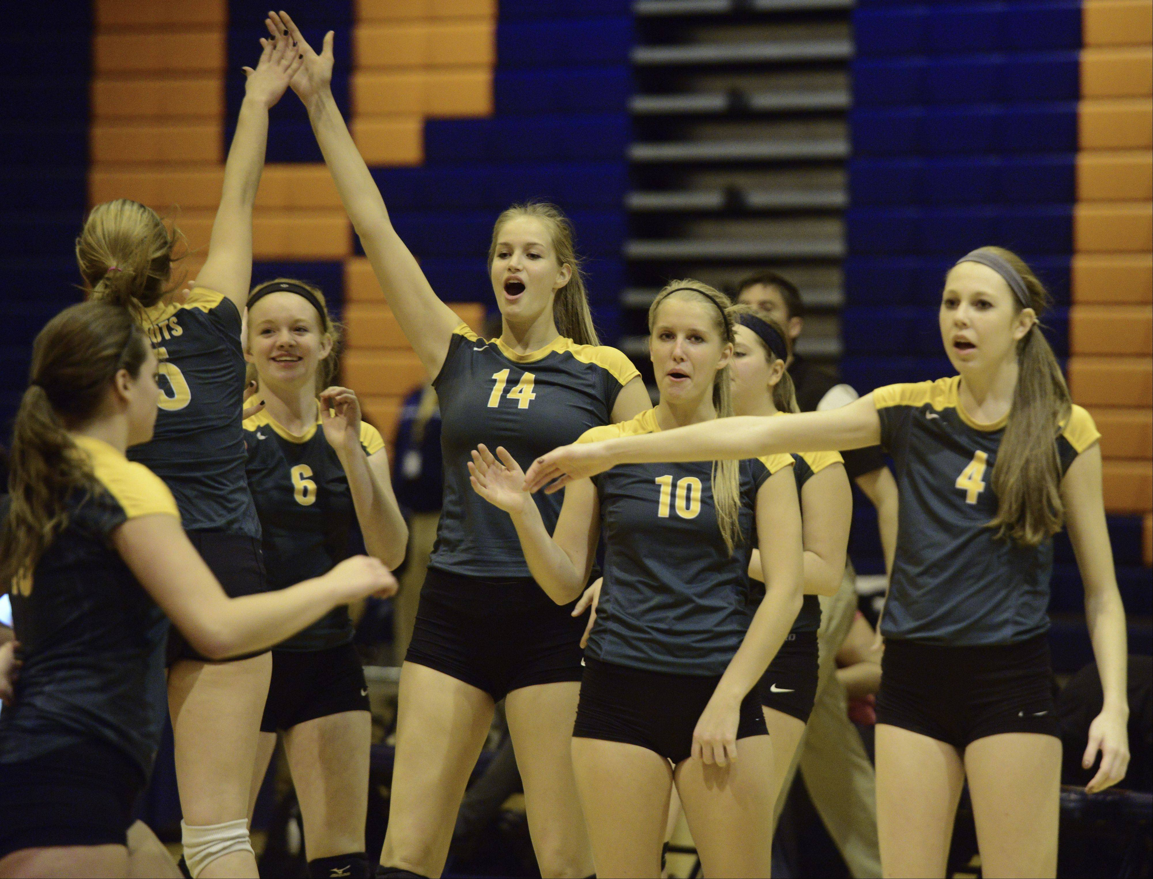 Stevenson players celebrate their victory over Conant during Tuesday's regional semifinal at Buffalo Grove.