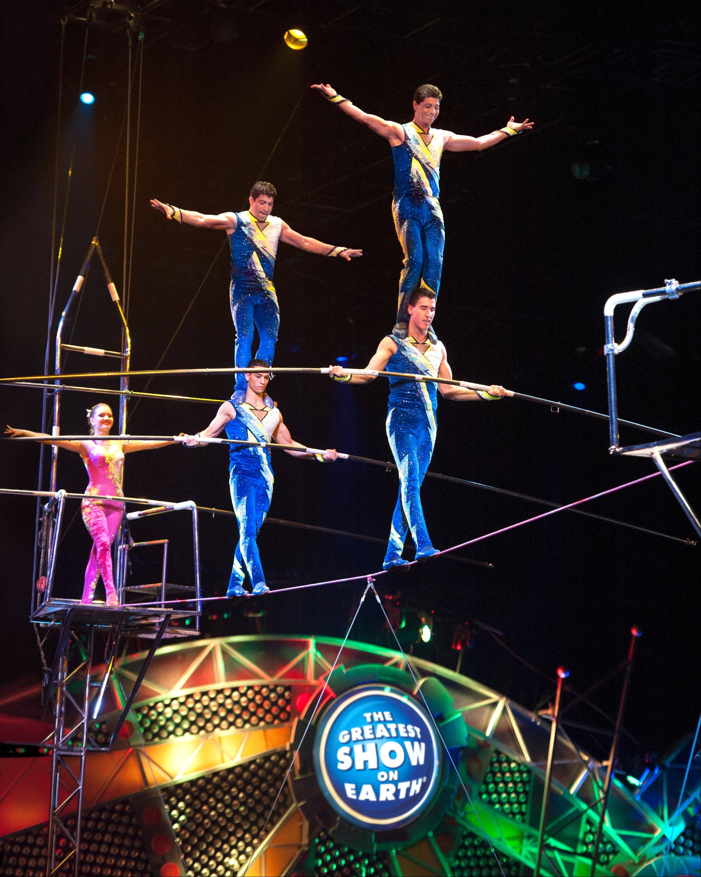 "The high-wire Danguir Troupe performs in the Ringling Bros. and Barnum & Bailey Circus show ""Built to Amaze!"" coming to the Allstate Arena in Rosemont and the United Center in Chicago."