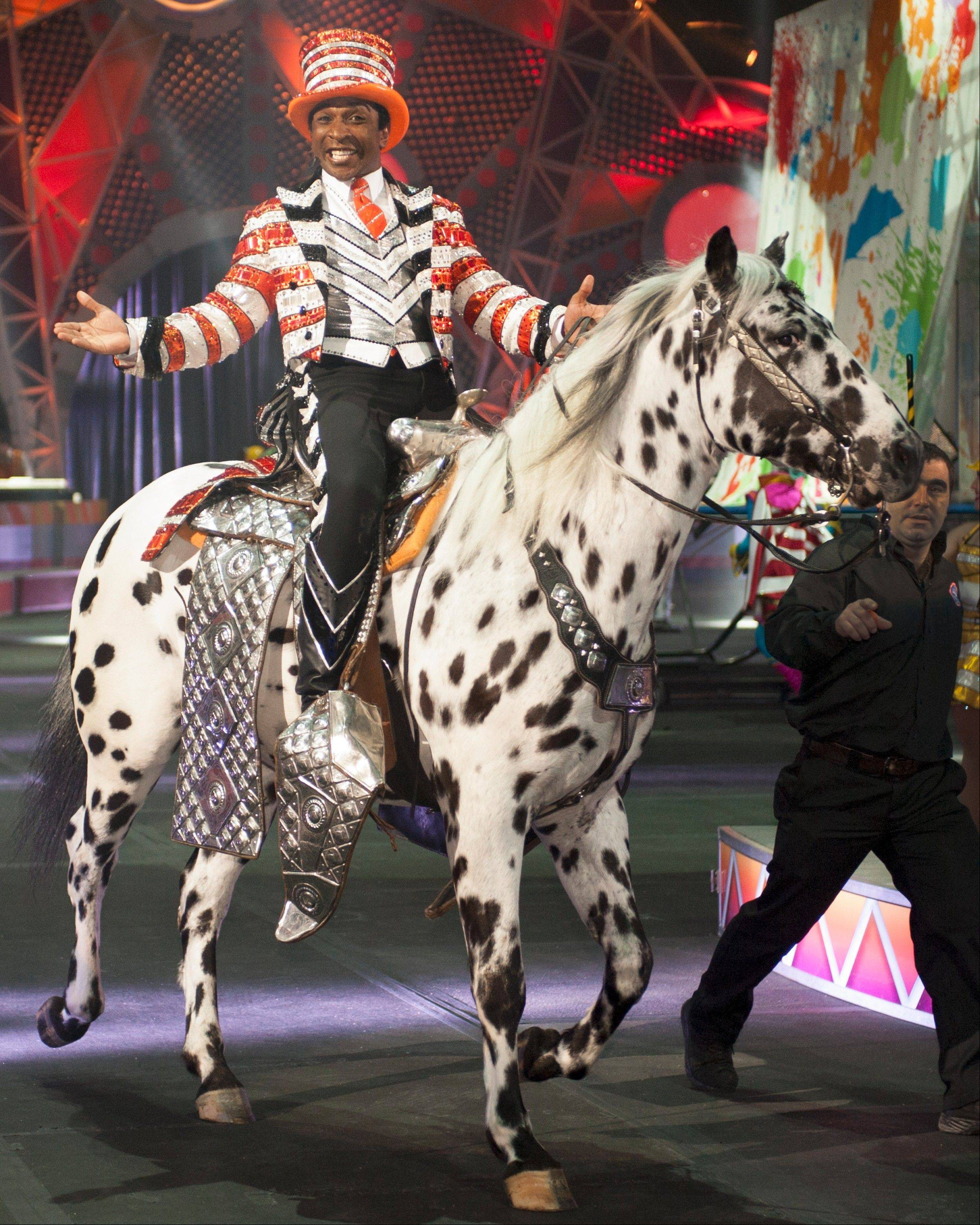 "Ringmaster Andre McClain stars in the Ringling Bros. and Barnum & Bailey Circus show ""Built to Amaze!"" at the Allstate Arena in Rosemont and the United Center in Chicago."