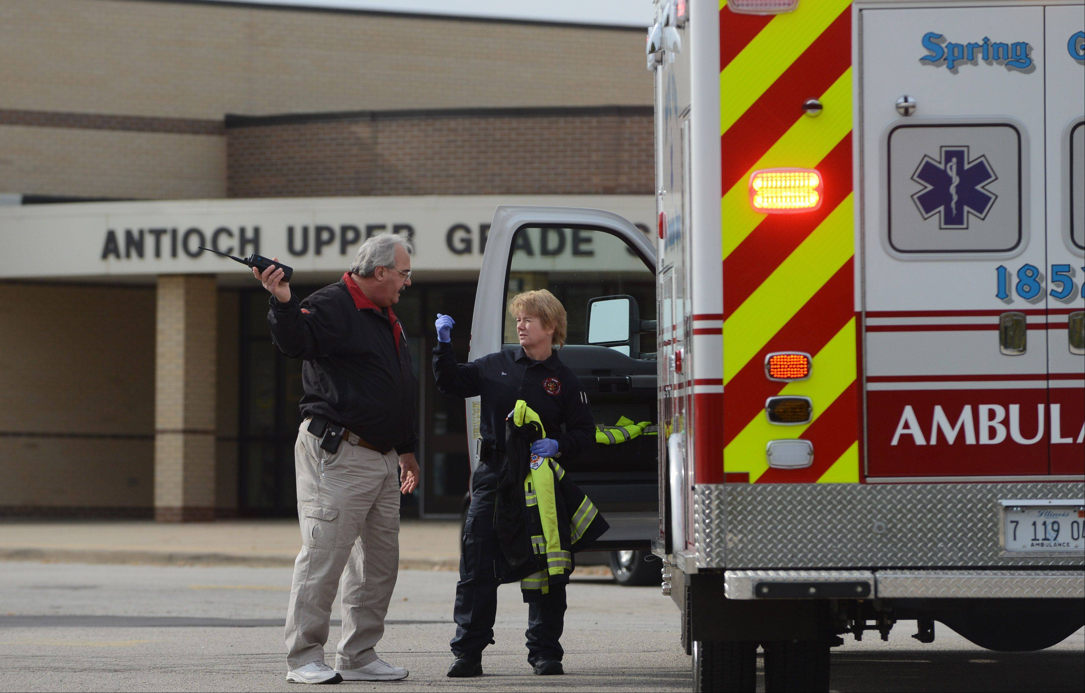 Ten Antioch Upper Grade School students were taken to Advocate Condell Medical Center Tuesday morning in Libertyville after taking a prescription painkiller.