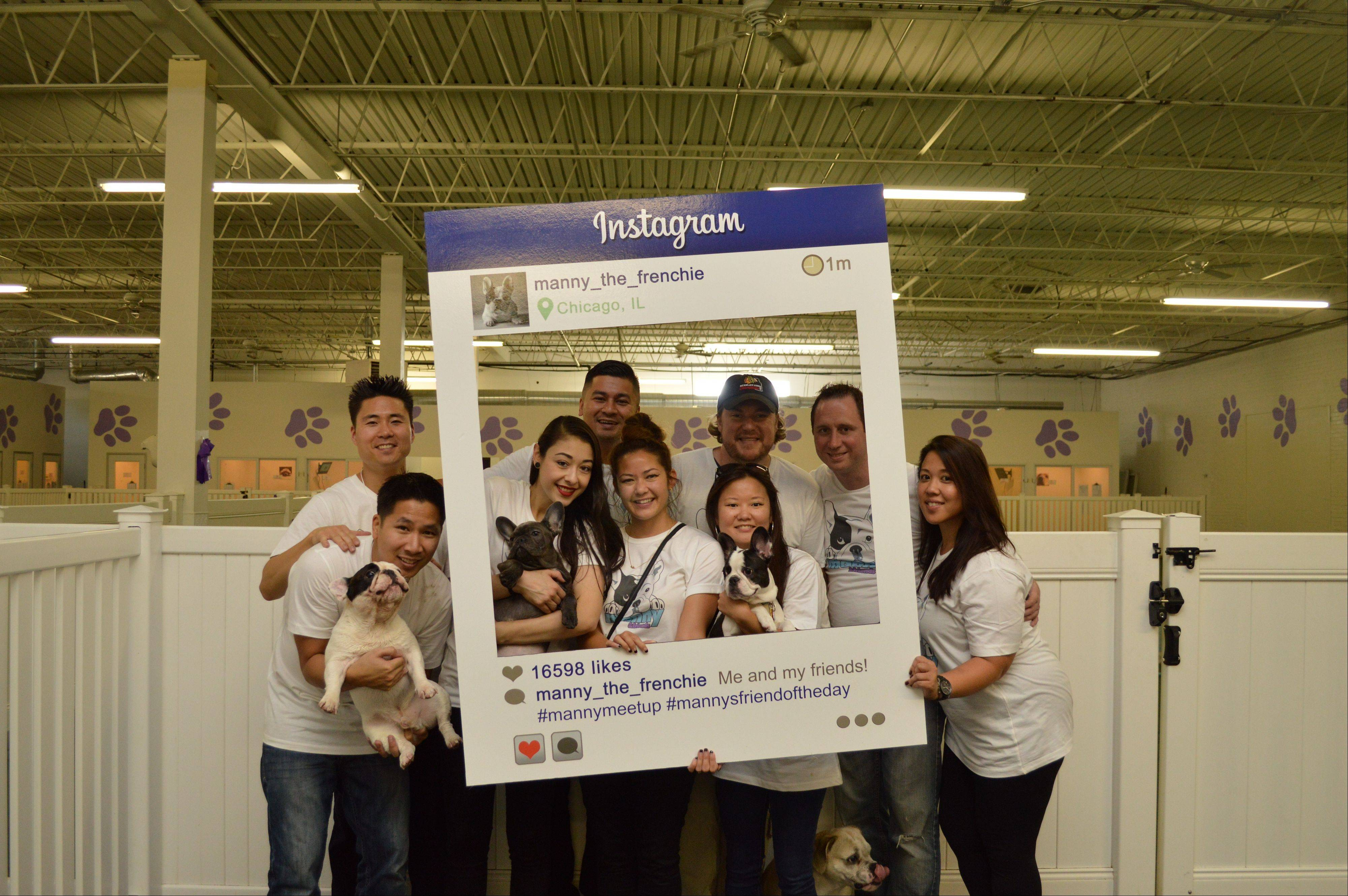 Originally just a pet for John Huang, front left, and girlfriend Amber Chavez, next to Huang, Manny the Frenchie, the French bulldog in Huang's arms, became such an Instagram sensation that the dog now is a business.