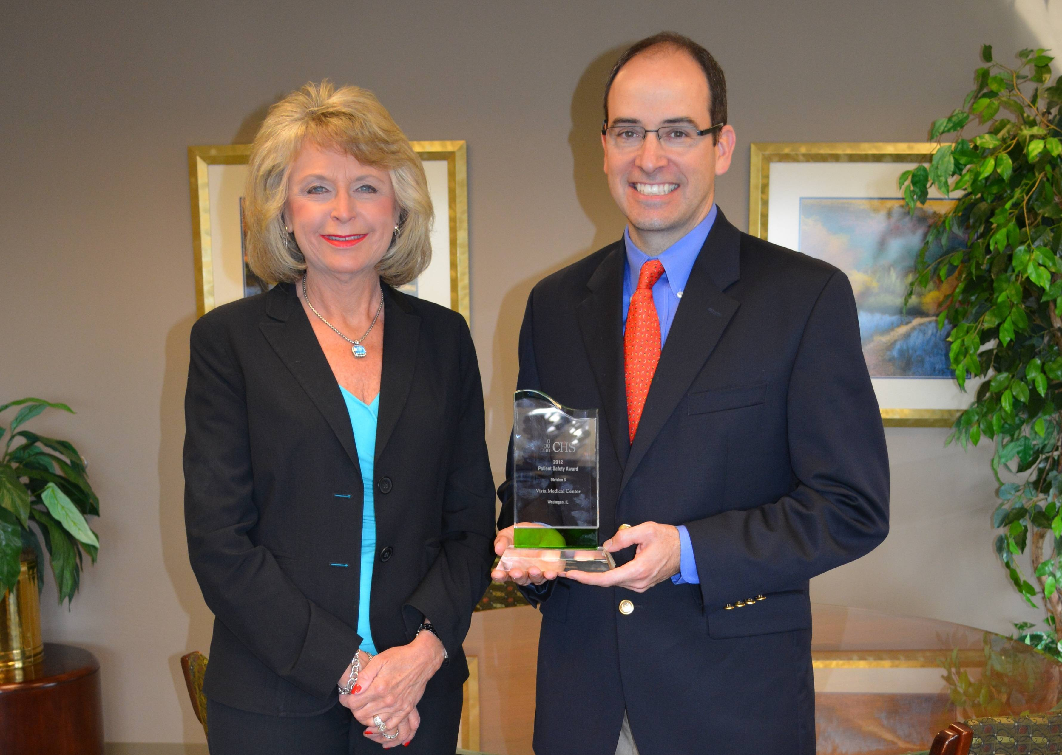 Vista CEO Barbara Martin with Dr. John Devaney, president-elect of the Vista Medical Staff
