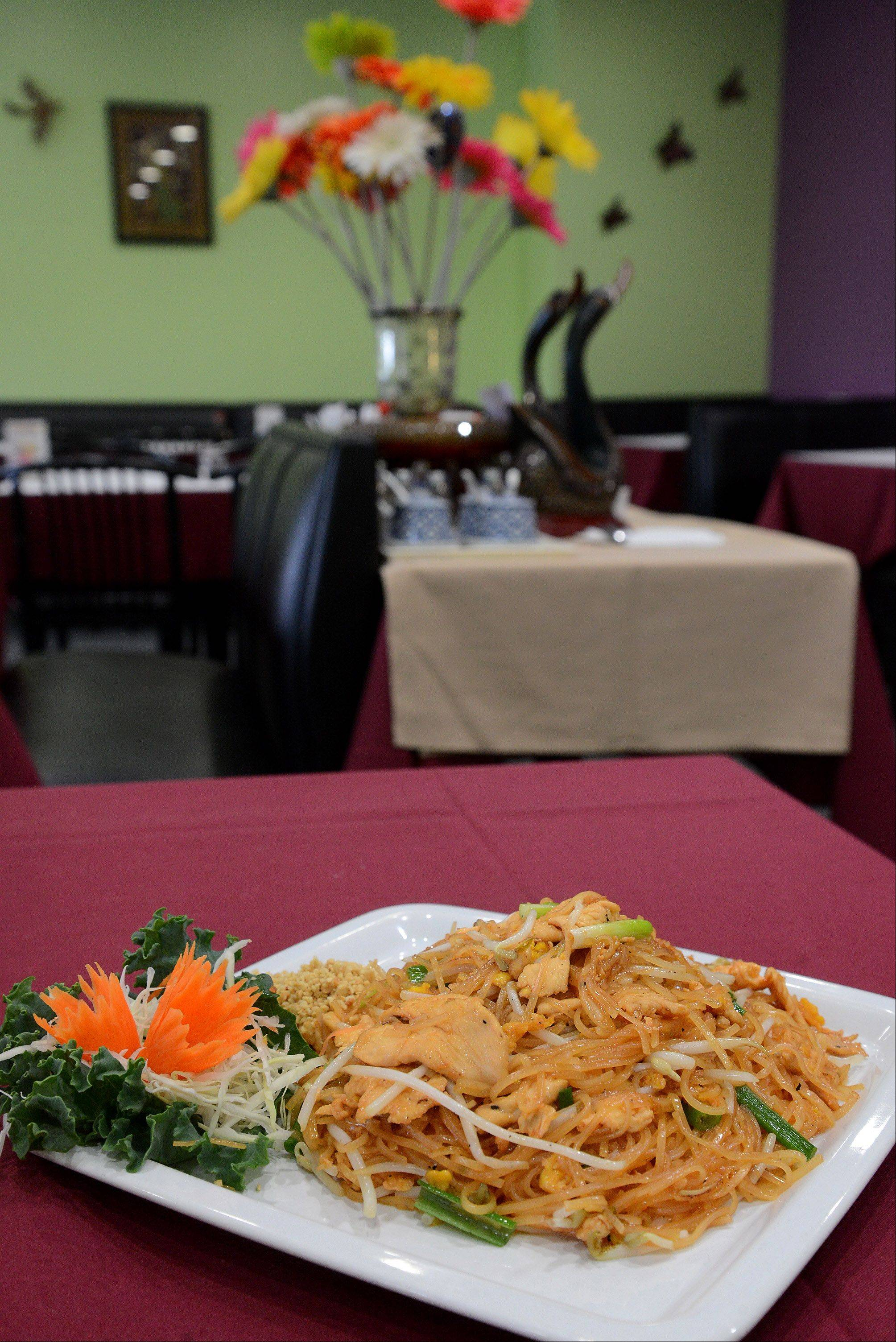 Chicken Pad Thai comes to the table beautifully presented at Lovely Thai in Grayslake.