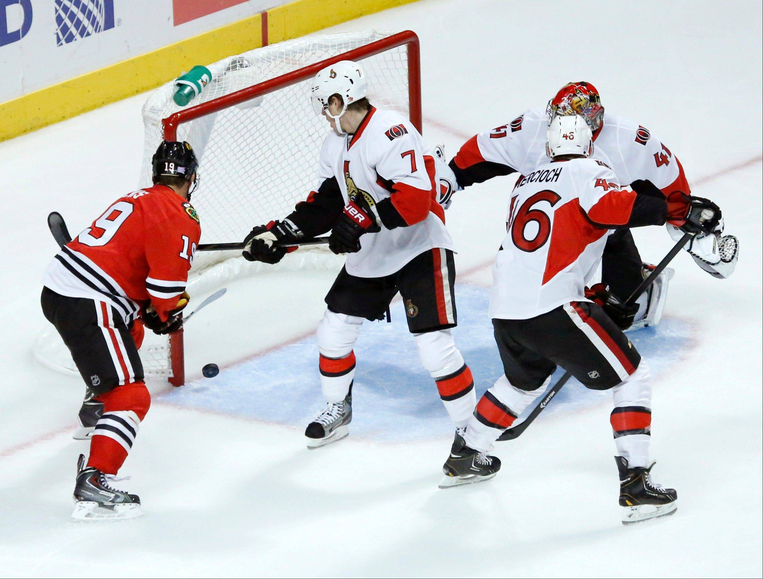 The Blackhawks� Jonathan Toews, here scoring his third goal Tuesday night against Ottawa, had a �pretty amazing performance,� according to coach Joel Quenneville.