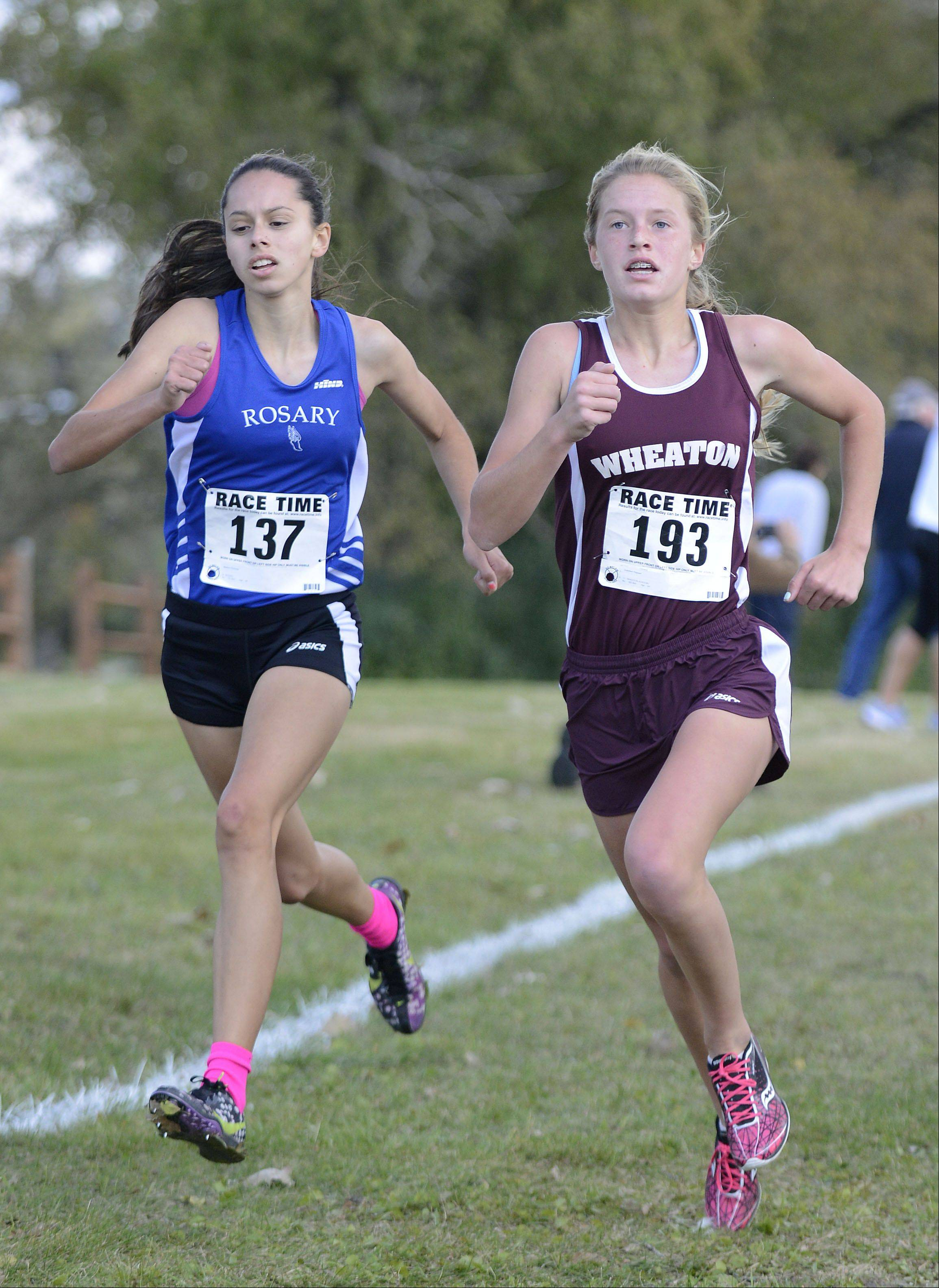 Rosary�s Madison Ronzone and Wheaton Academy freshman Gretchen Pearson battle to the finish line in the Class 2A cross country regional on Saturday, October 26. Pearson took ninth place, Ronzone took tenth.