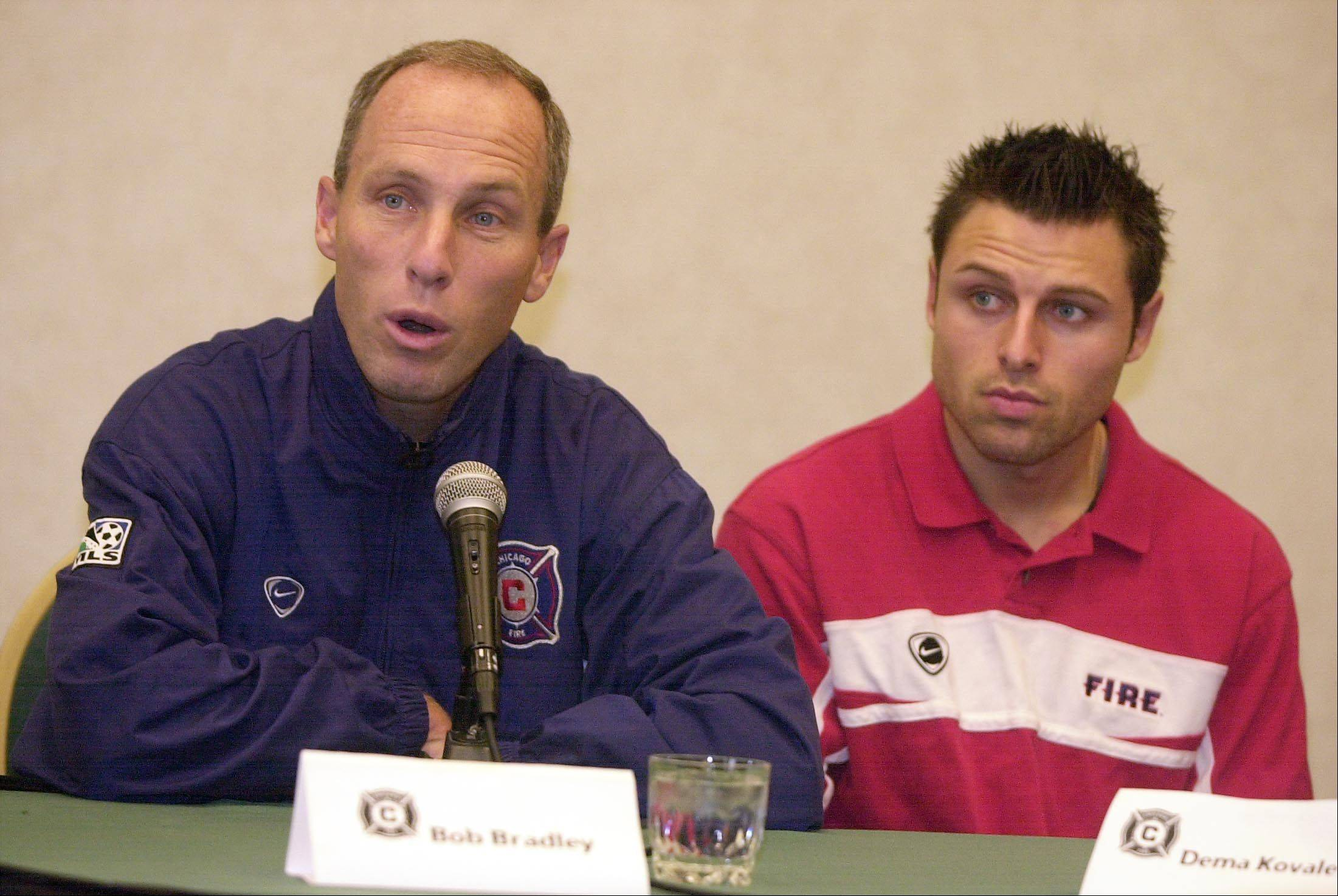 Chicago Fire Press conference at Naperville Holiday Inn Select. Head Coach Bob Bradley and Dema Kovalenko , player, chat with the news media.
