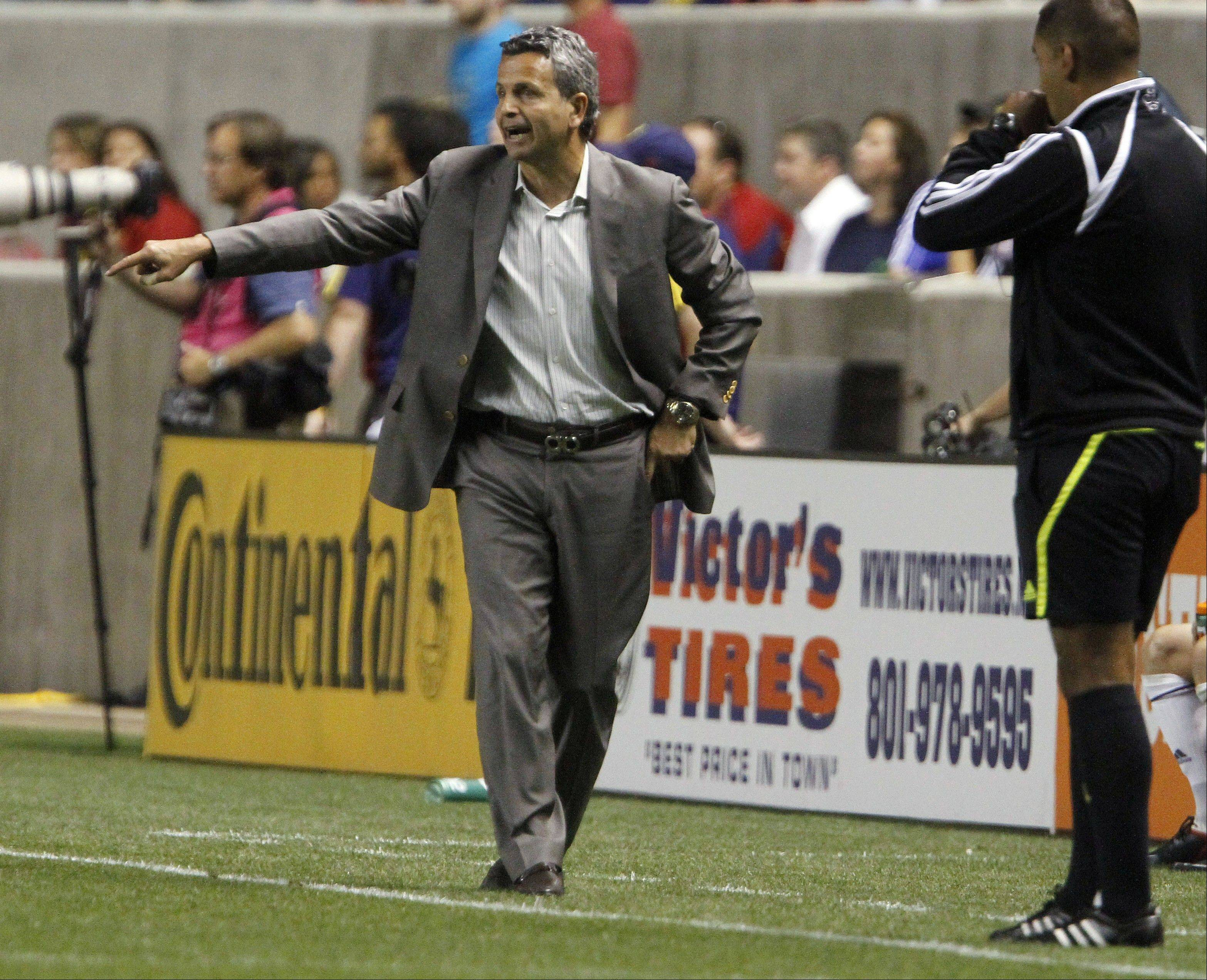 Chicago Fire coach Frank Klopas directs his team against the Real Salt Lake during the second half of an MLS soccer match in Salt Lake City, Wednesday, Sept. 28, 2011. Chicago won 3-0.