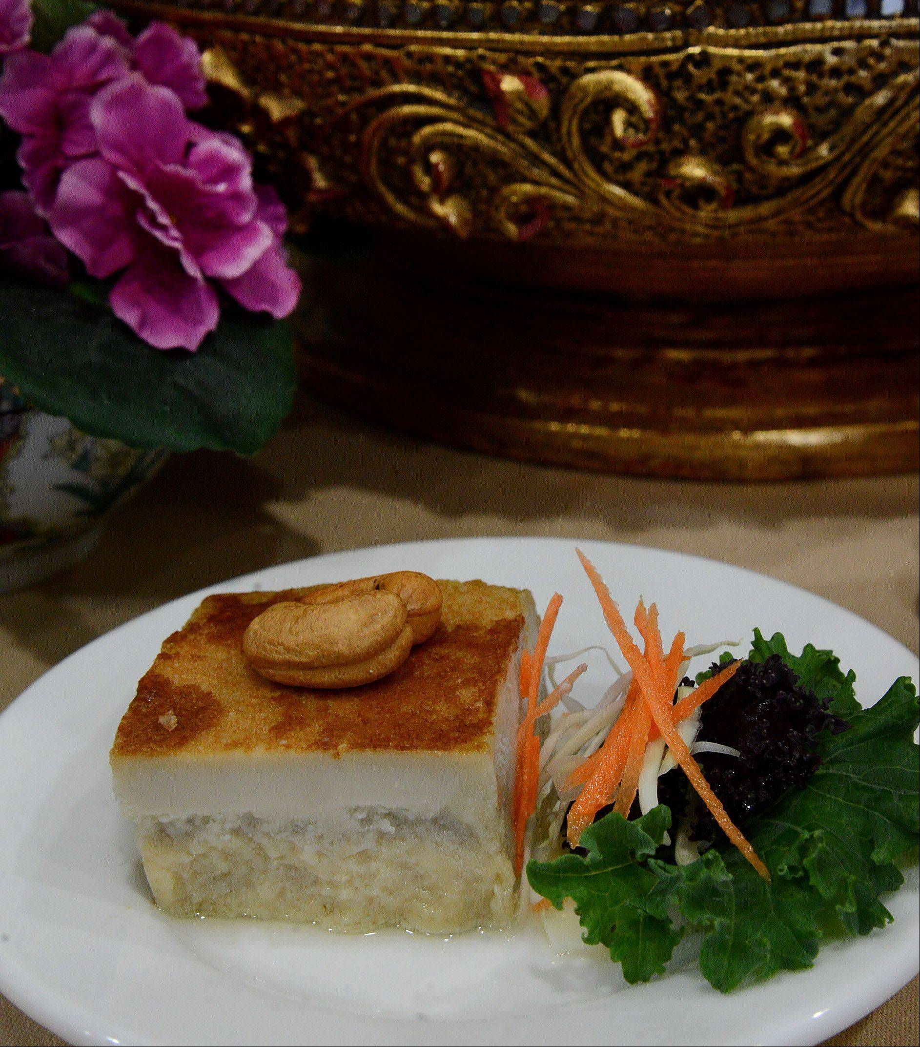 Thai custard is made with taro root sweetened and mixed with coconut milk and egg.