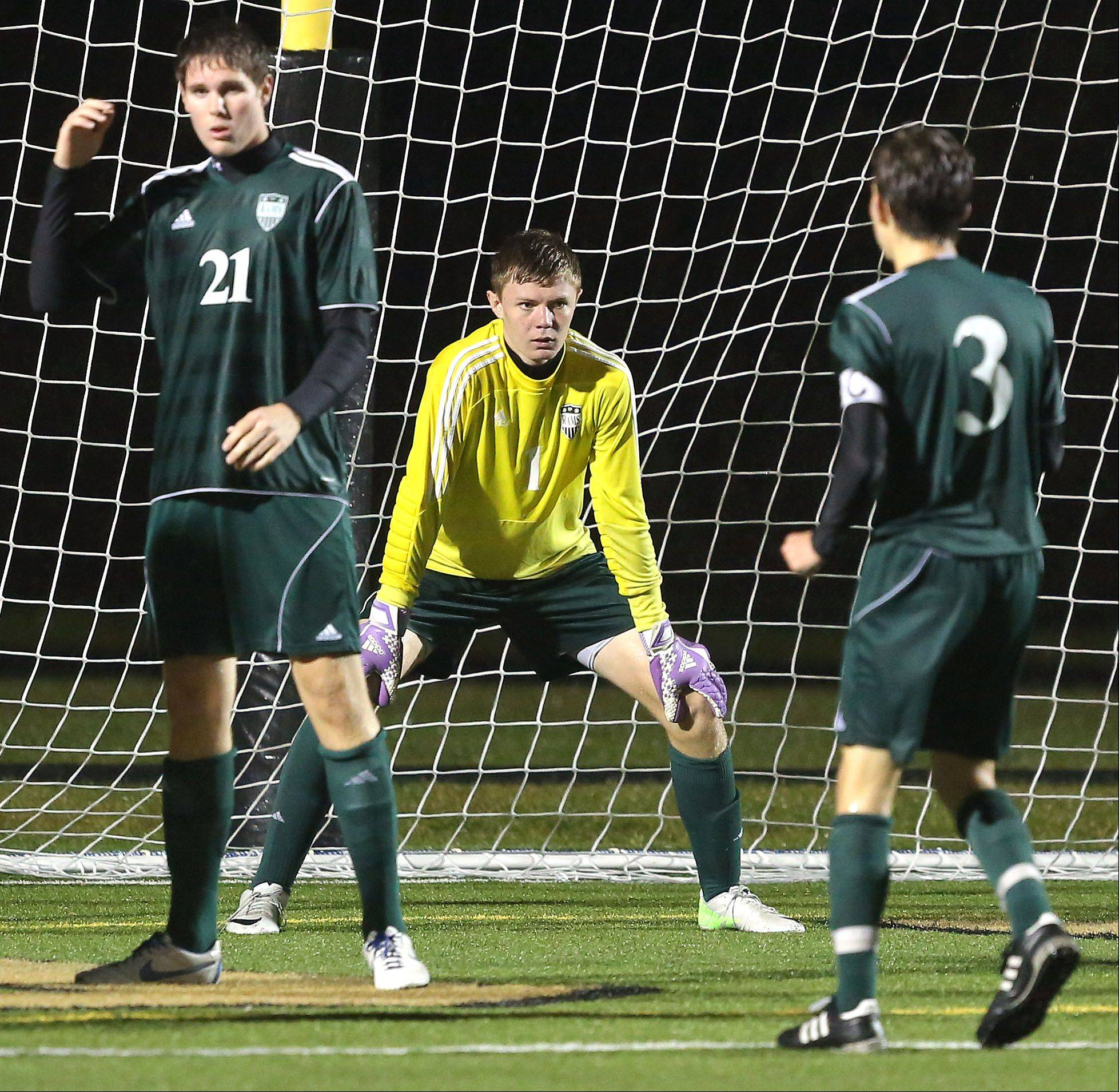Grayslake Central players, from left, Jacob Swearingen, Steve Anderson and Isaac Longenecker, looked stunned after letting in a goal off a throw-in during their Class 3A sectional semifinal against Antioch Wednesday at Grayslake North High School.