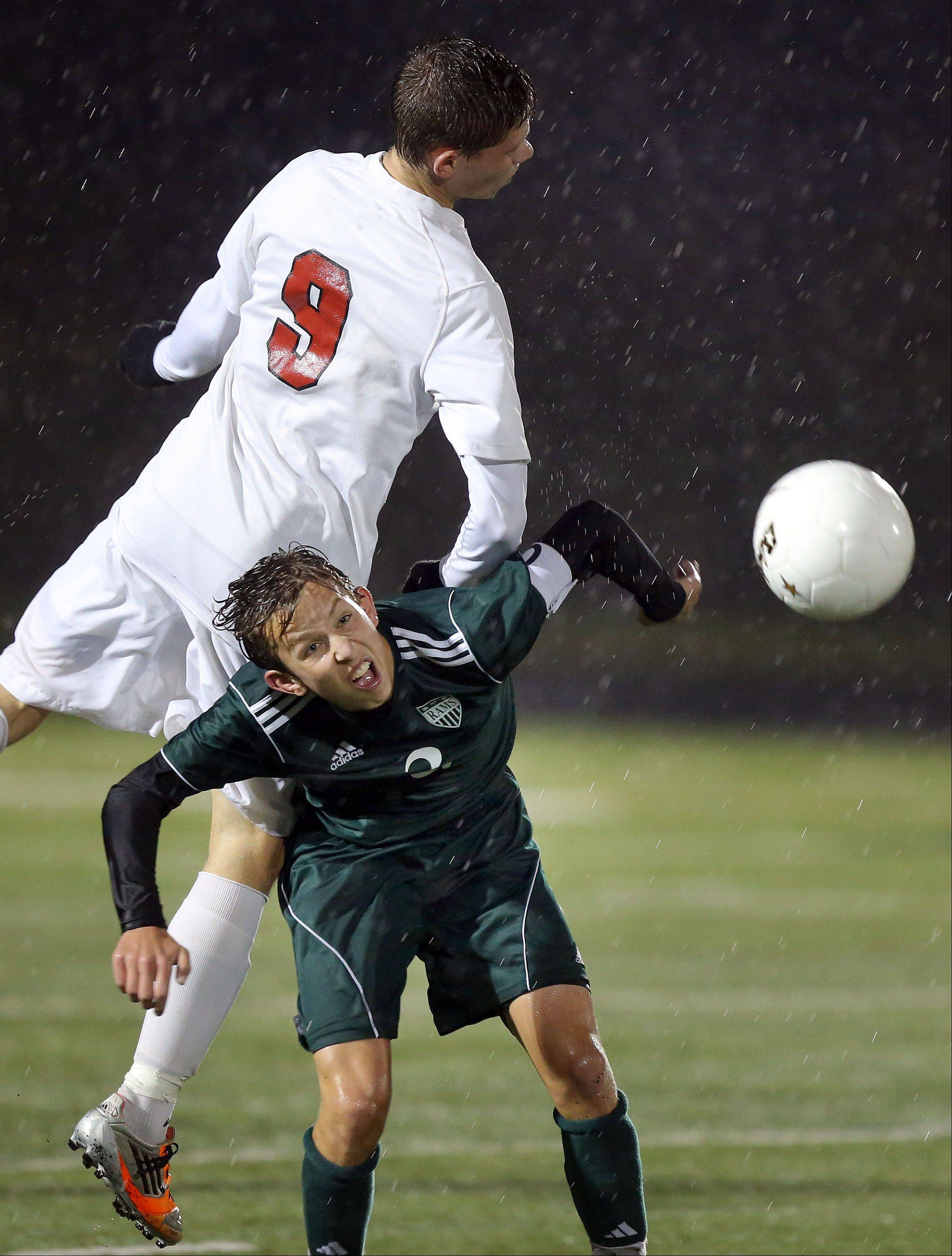 Antioch's Krystian Streit, left, and Grayslake Central's Isaac Longenecker go up for a header during the Class 3A sectional semifinal Wednesday at Grayslake North High School.