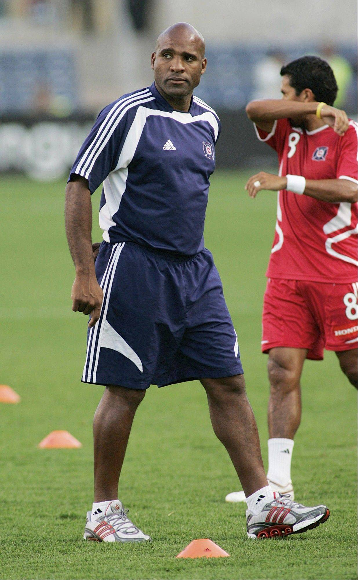 This photo provided by the Chicago Fire soccer team, shows assistant coach Denis Hamlett in Bridgeview, Ill., in a July 12, 2006, file photo.Hamlett coached the team in 2008.
