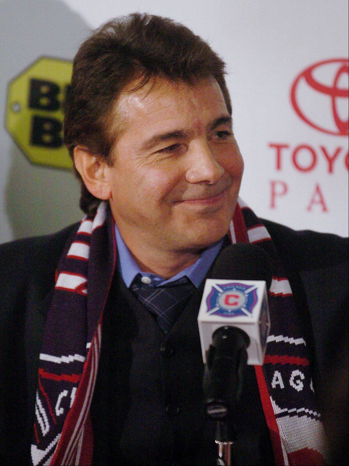 Chicago Fire coach Carlos de los Cobos is all smiles after being named head coach.