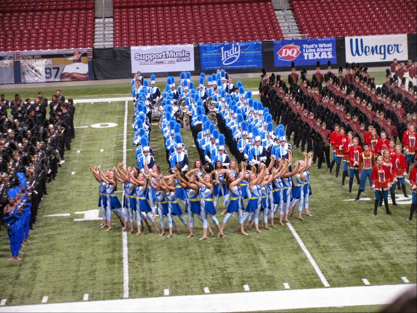 The Prospect Marching Knights are joined by other finalist bands during the awards ceremony at the Bands Of America Super Regional in St. Louis on Oct. 19.
