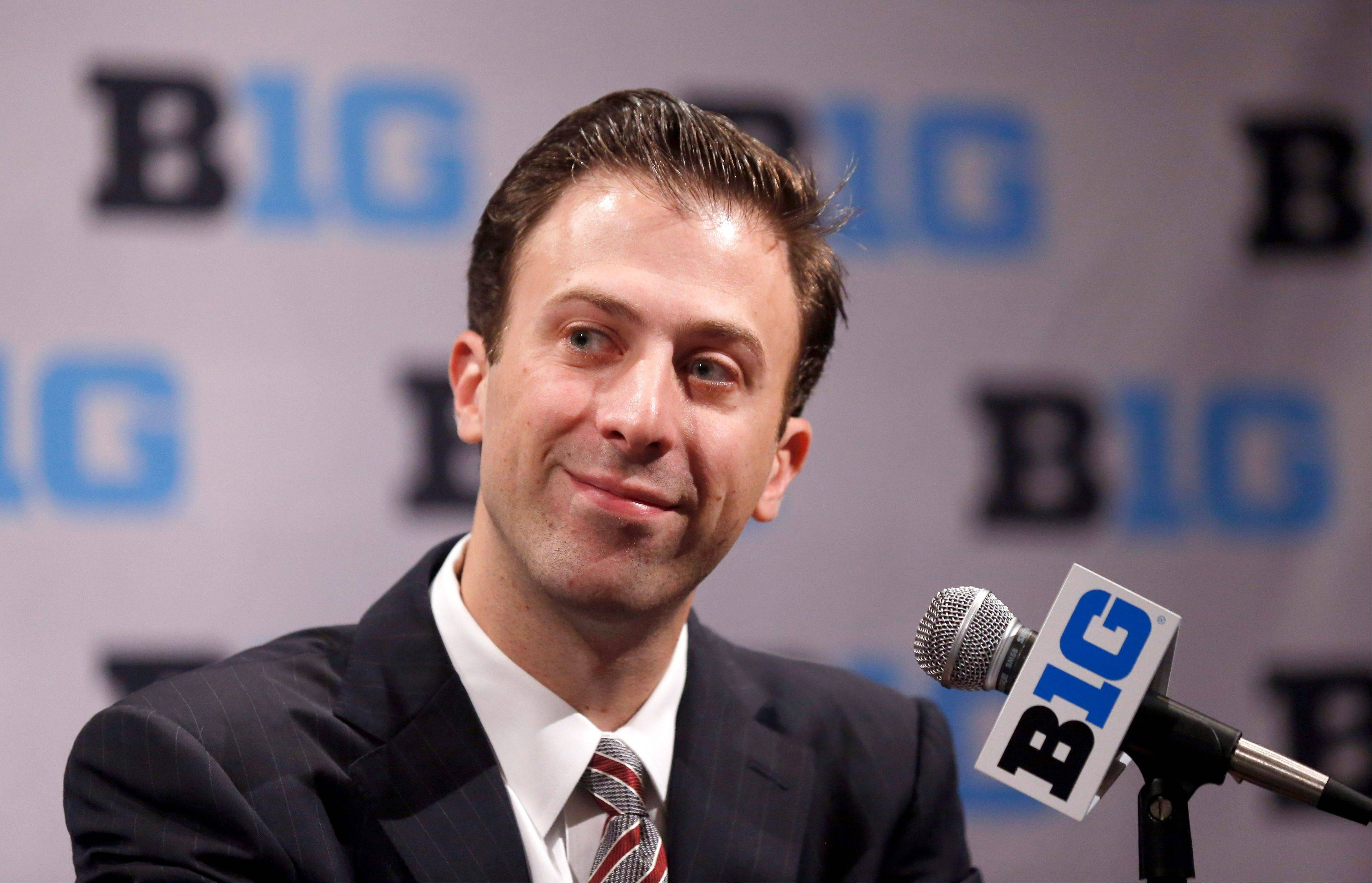 Minnesota men�s coach Richard Pitino listens to a question during the Big Ten basketball media day Thursday in Rosemont. Last year, Pitino led Florida International to 18 wins.