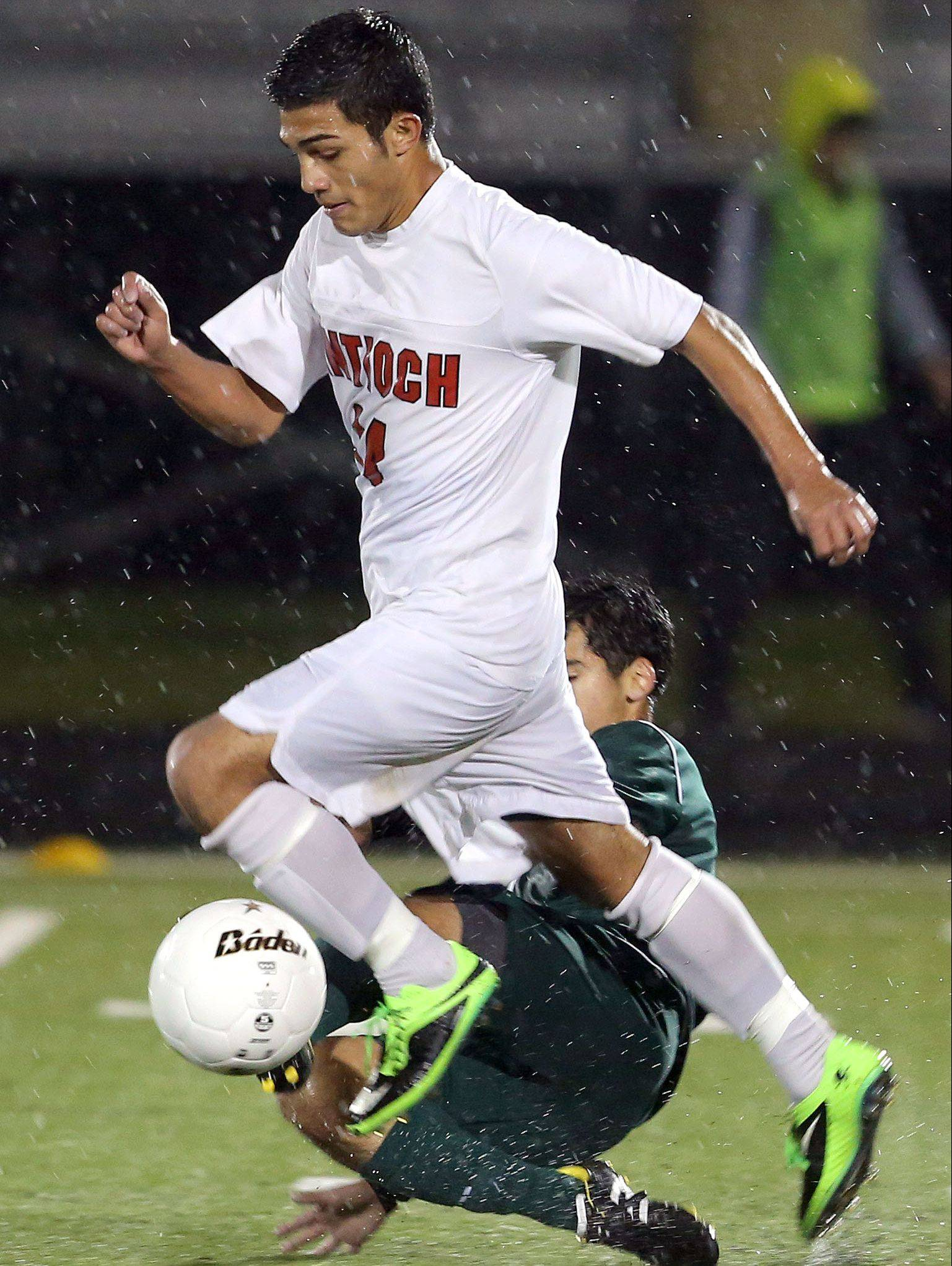 Antioch�s Iven Hernandez drives down the field in Class 3A sectional semifinal play against Grayslake Central on Wednesday at Grayslake North High School.