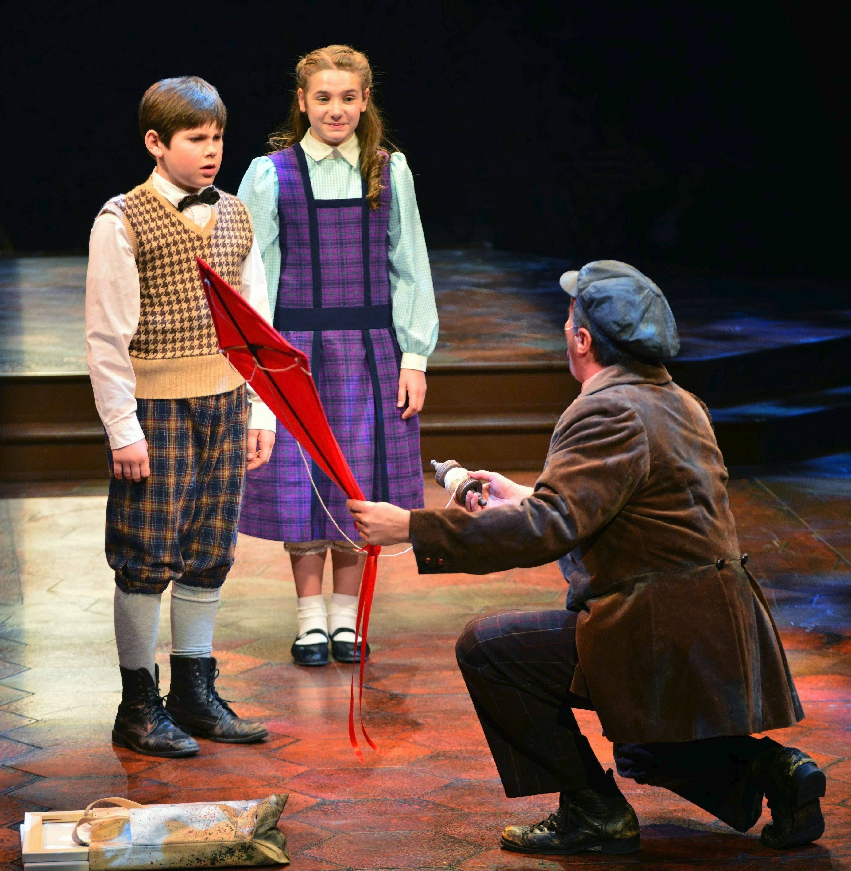 "Johnny Rabe and Madison Gloria Olszewski alternate in the roles of Michael and Jane Banks, the unruly children who yearn for their father's attention, in ""Mary Poppins"" at Marriott Theatre."